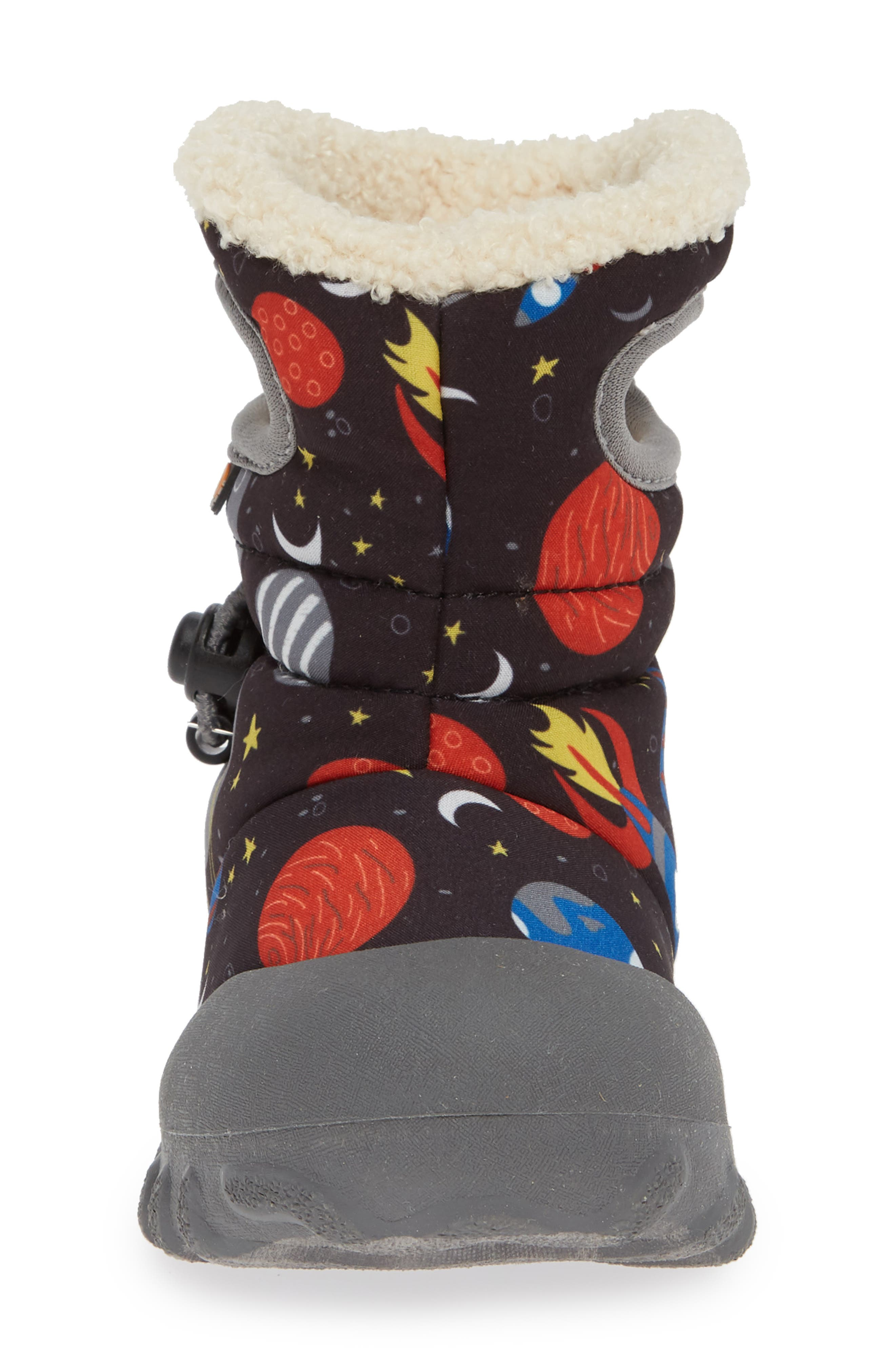 BOGS, B-MOC Space Waterproof Insulated Faux Fur Boot, Alternate thumbnail 4, color, BLACK MULTI