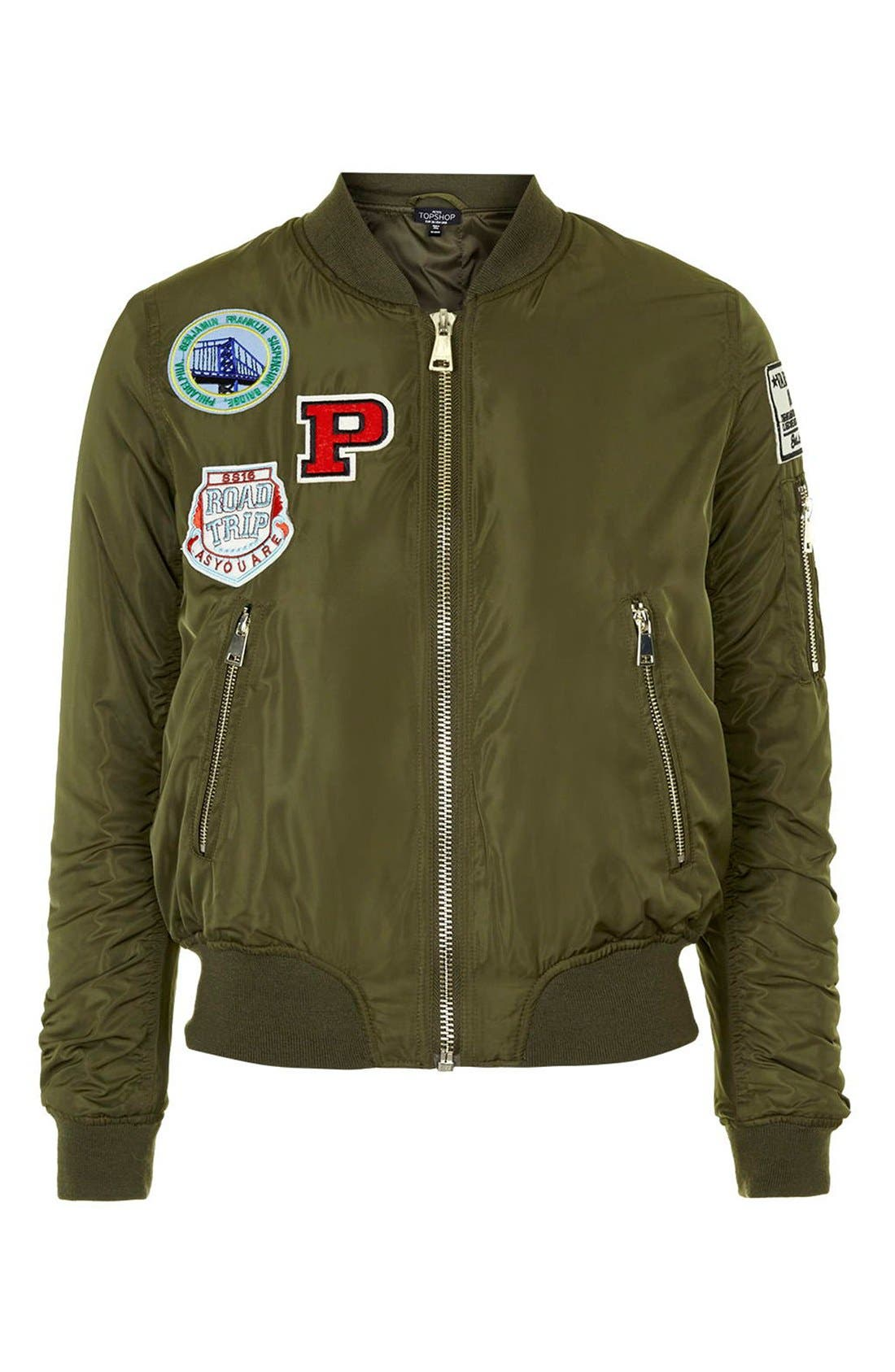 TOPSHOP, 'Bruce' Patch Detail MA1 Bomber Jacket, Alternate thumbnail 4, color, 300