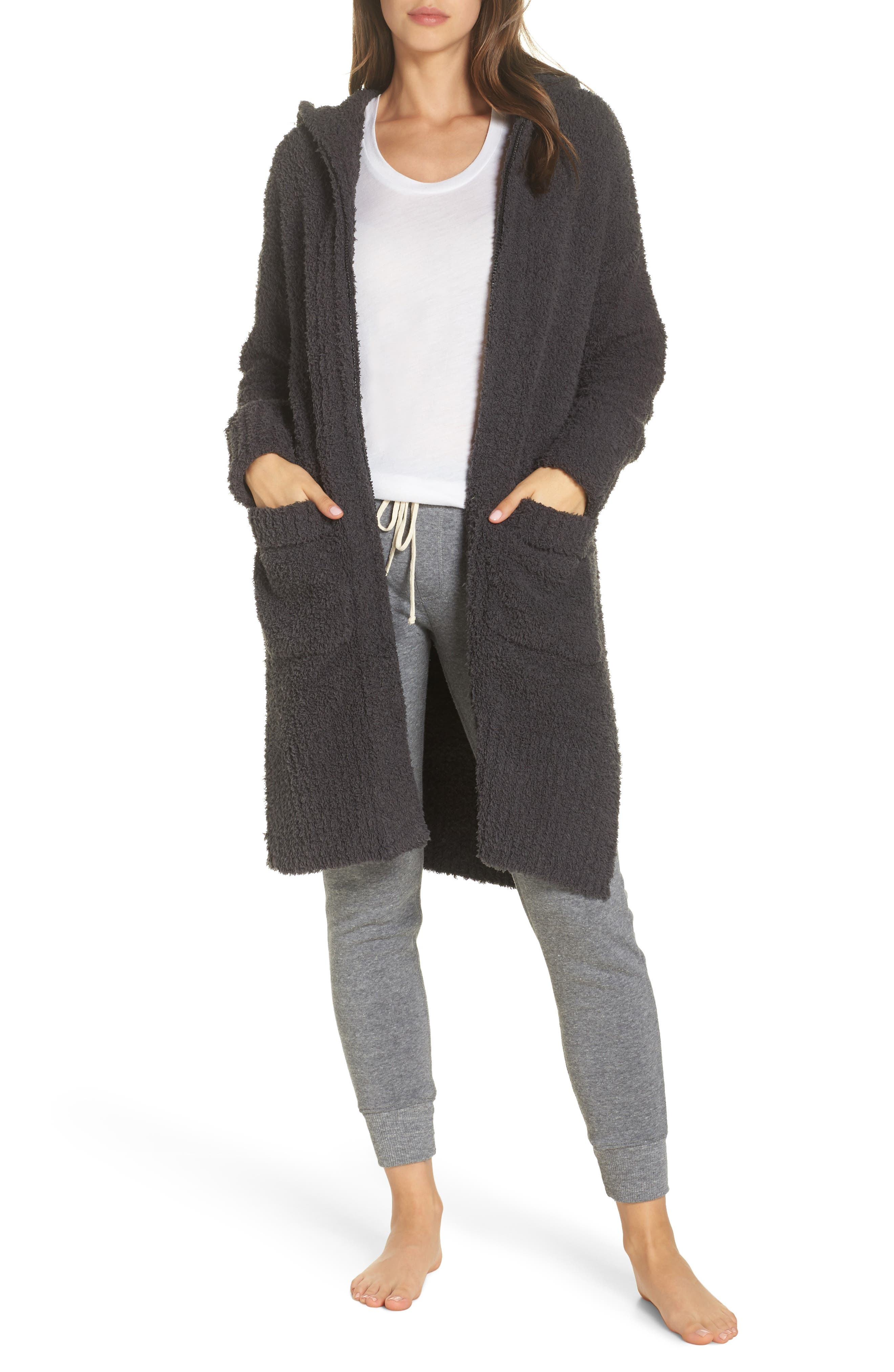 BAREFOOT DREAMS<SUP>®</SUP>, CozyChic<sup>®</sup> Nor-Cal Lounge Coat, Main thumbnail 1, color, CARBON