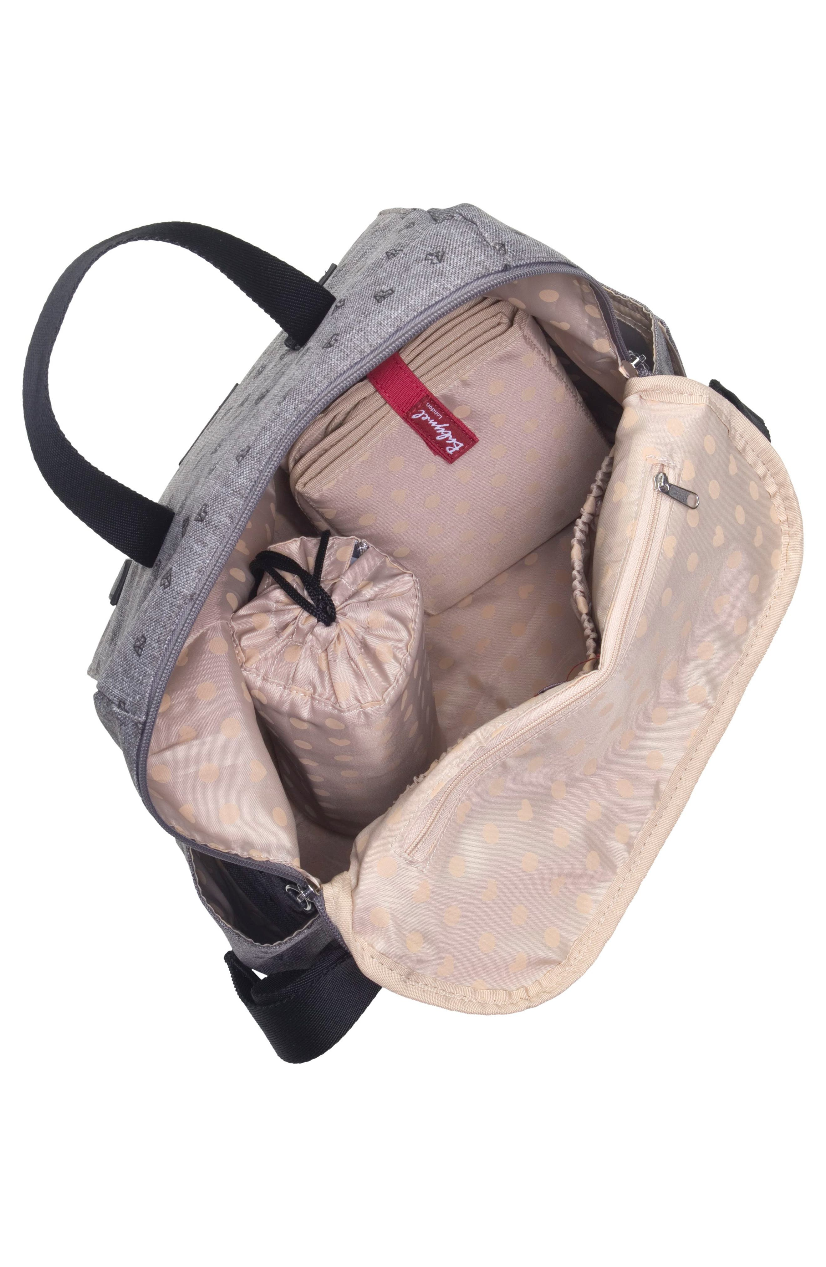 BABYMEL, Robyn Convertible Diaper Backpack, Alternate thumbnail 3, color, GREY ORIGAMI HEART
