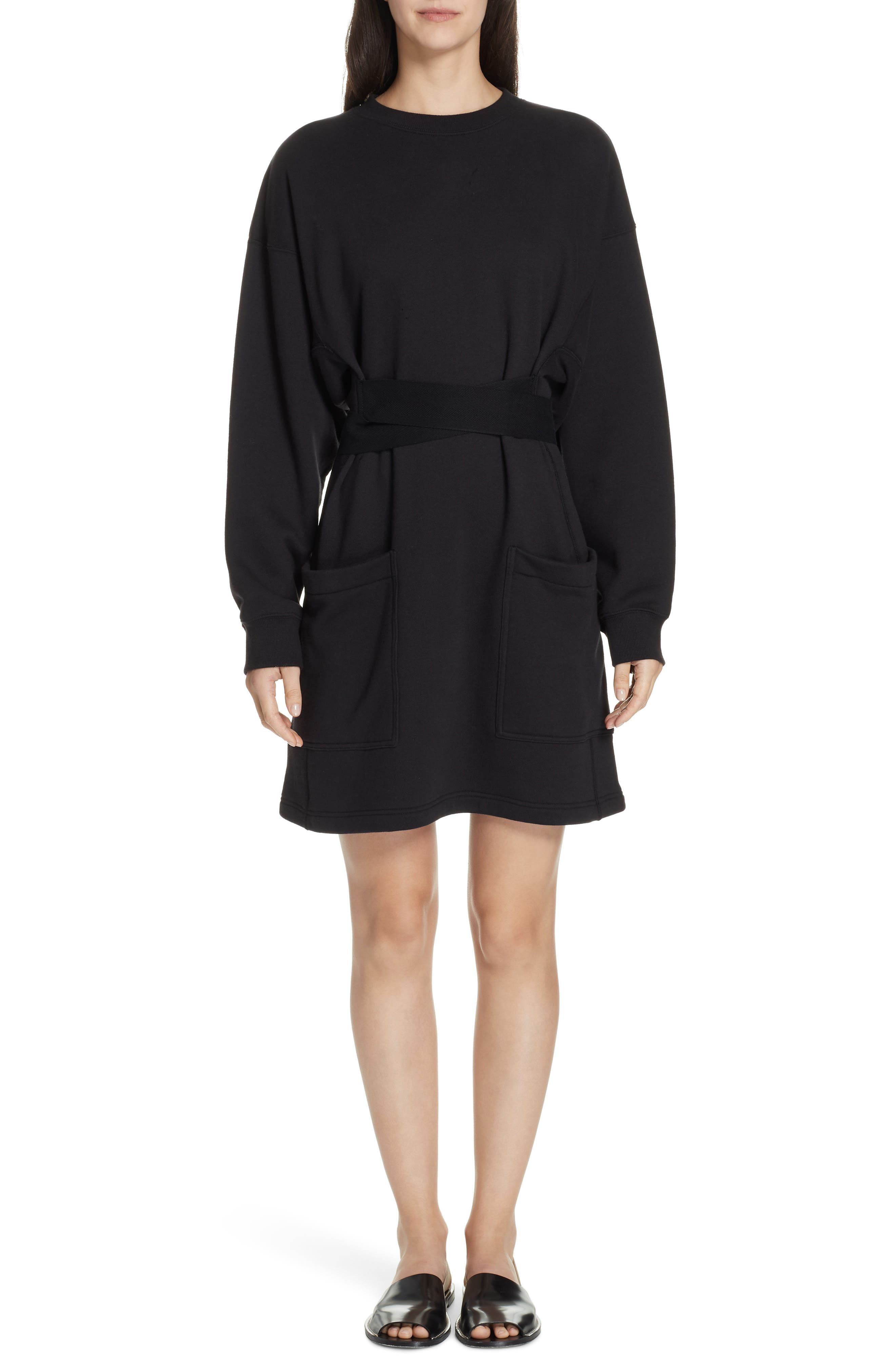 PROENZA SCHOULER, PSWL Belted Sweatshirt Dress, Main thumbnail 1, color, BLACK