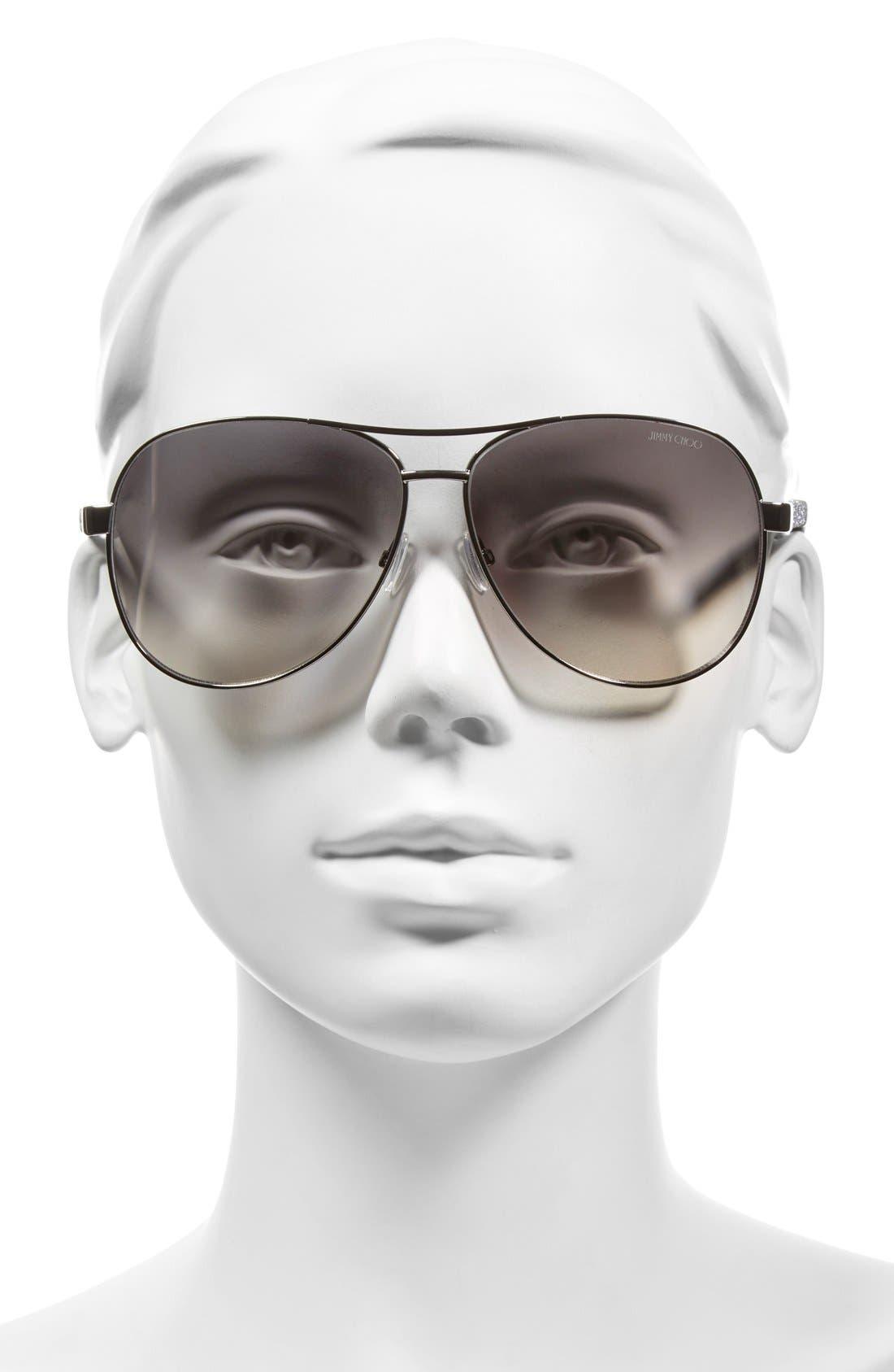 JIMMY CHOO, 'Lexie' 61mm Aviator Sunglasses, Alternate thumbnail 2, color, 040