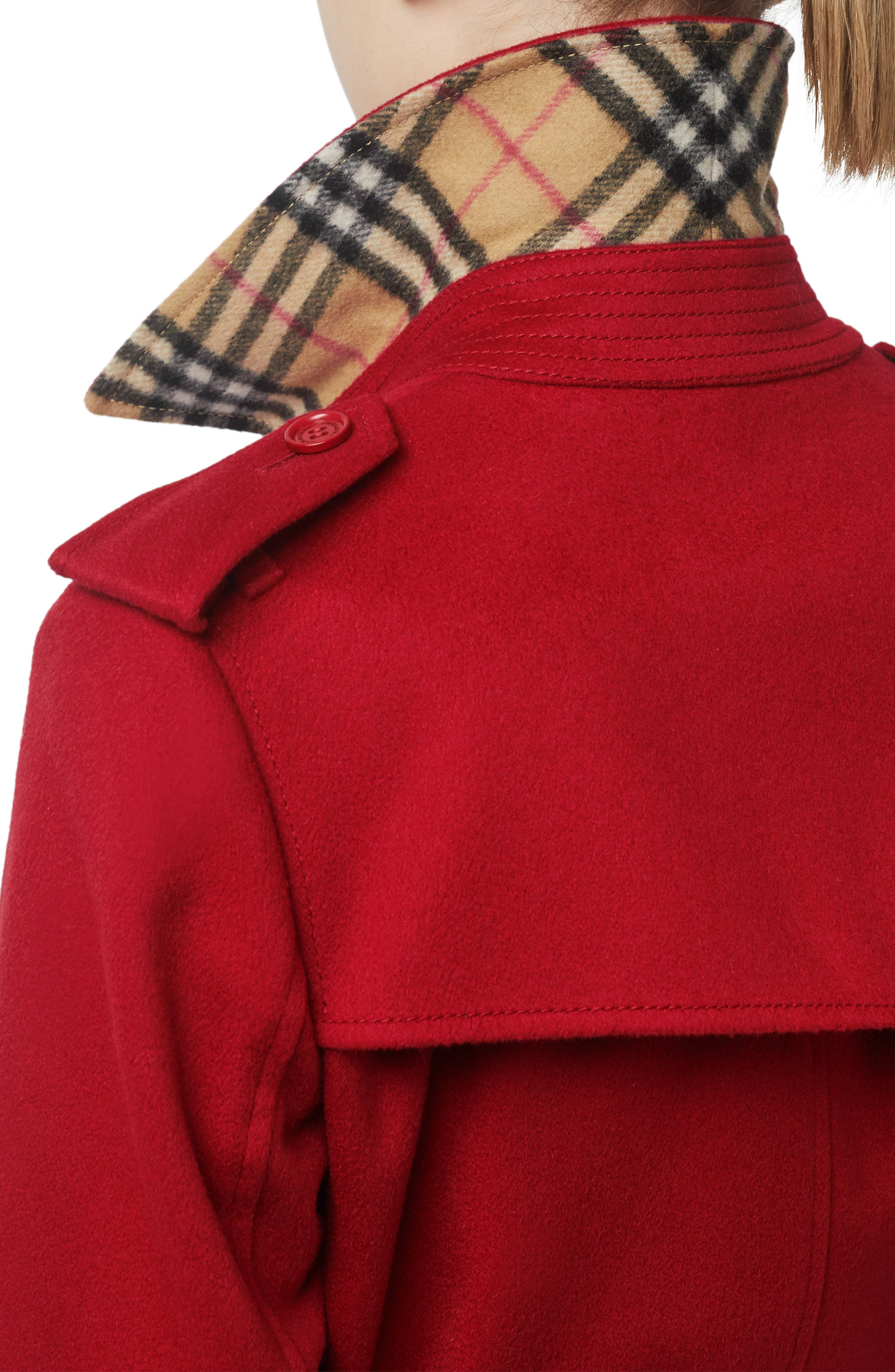 BURBERRY, Kensington Cashmere Trench Coat, Alternate thumbnail 4, color, PARADE RED