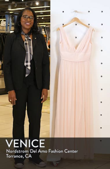 V-Neck Pleated Chiffon Evening Dress, sales video thumbnail