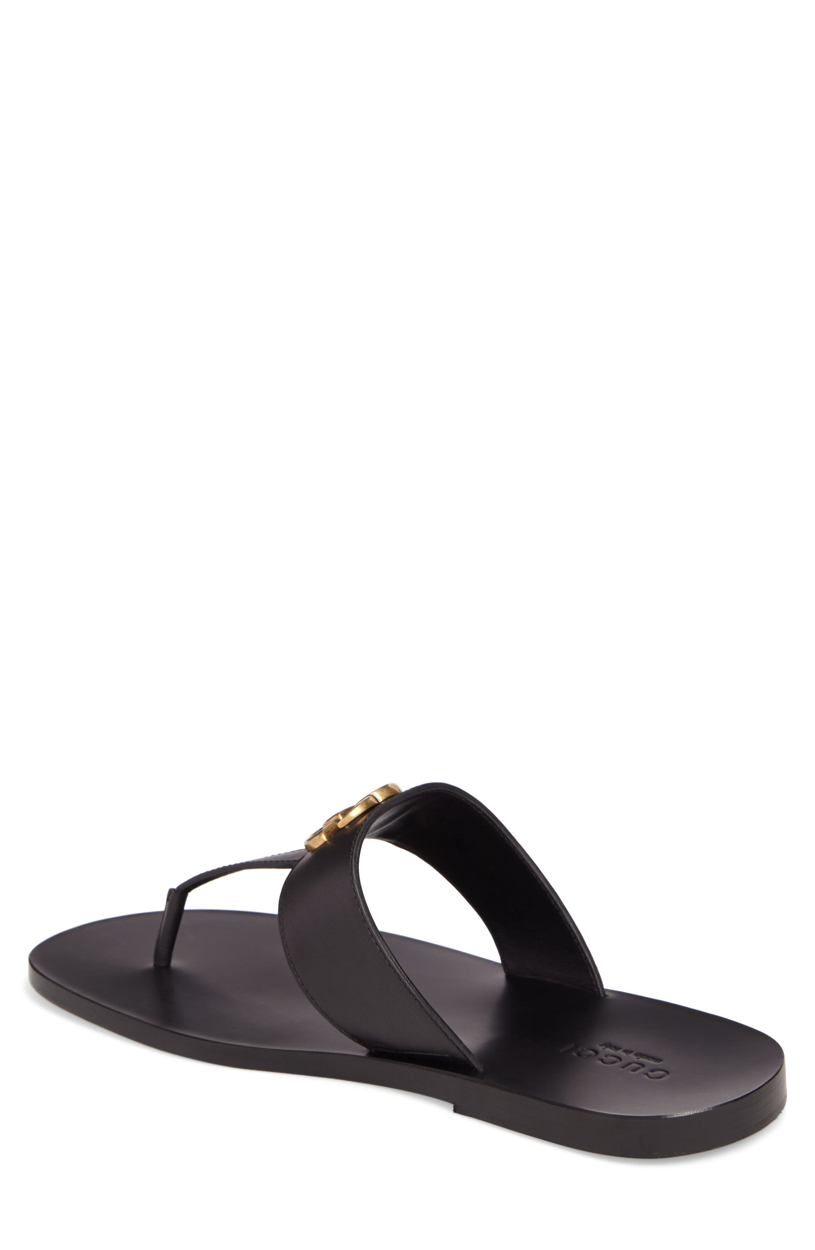 GUCCI, Marmont Double G Leather Thong Sandal, Alternate thumbnail 2, color, BLACK/ GOLD