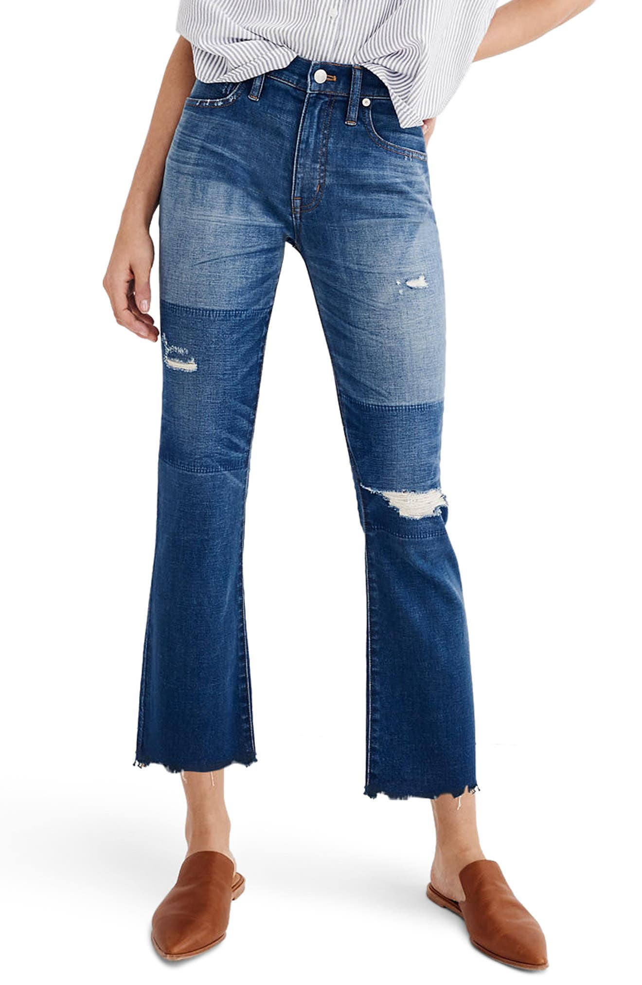 MADEWELL, Cali Ripped Demi Bootleg Crop Jeans, Main thumbnail 1, color, 400