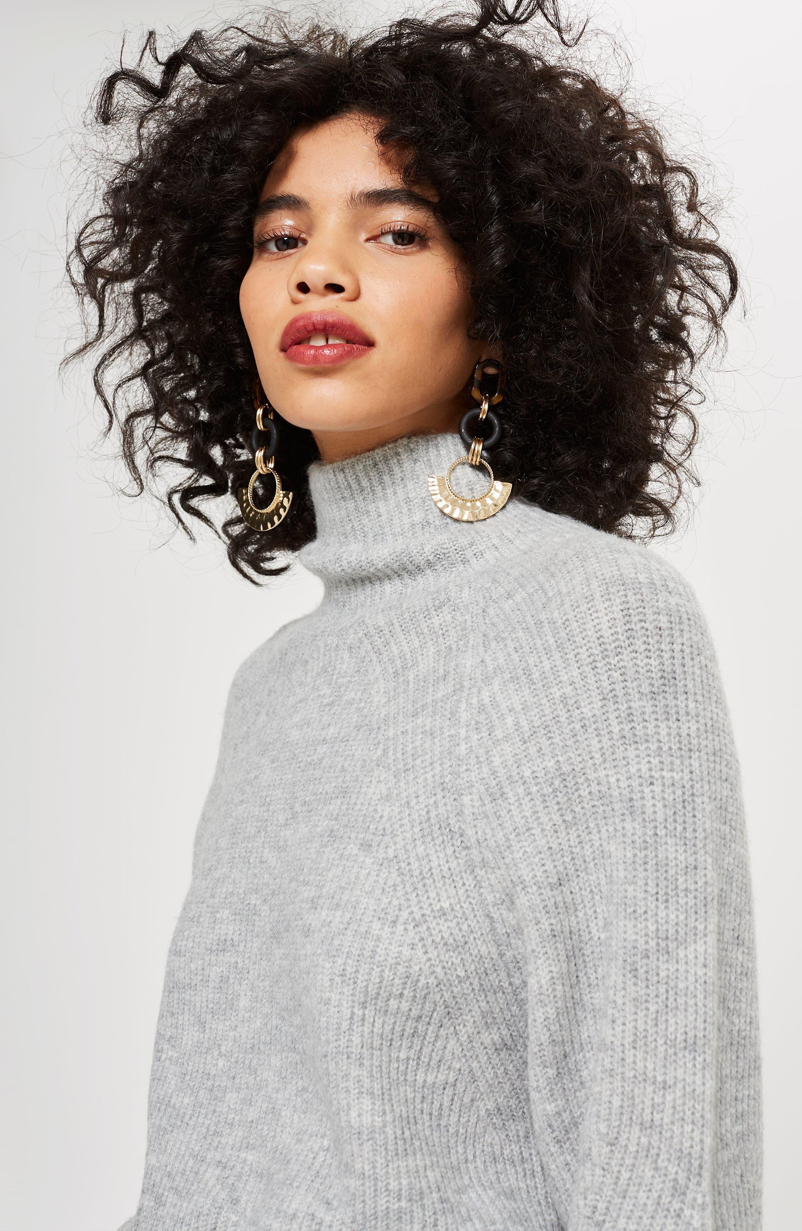 TOPSHOP, Raglan Turtleneck Neck Sweater, Alternate thumbnail 4, color, GREY MARL