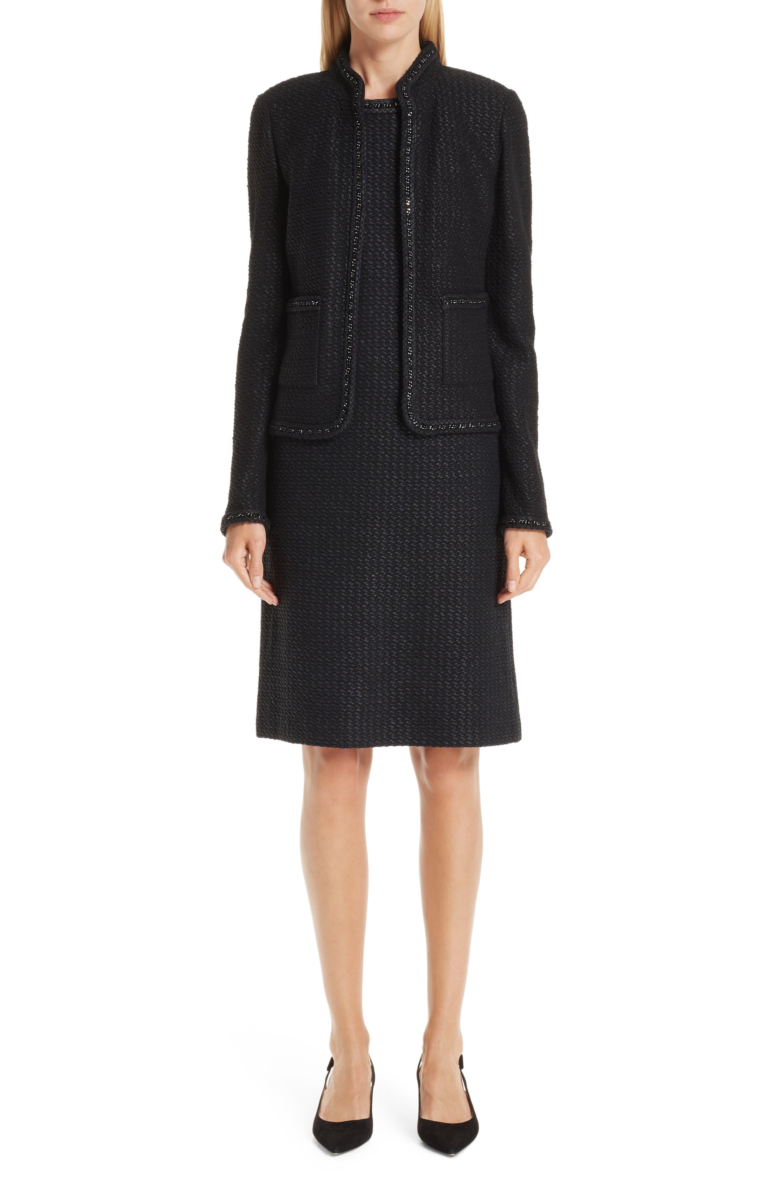 ST. JOHN COLLECTION, Adina Chain Trim Knit Dress, Alternate thumbnail 8, color, CAVIAR