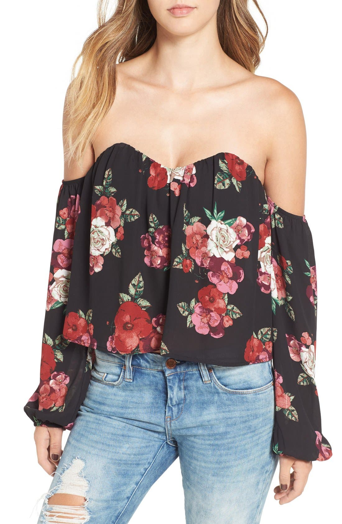 4SI3NNA Bustier Off the Shoulder Crop Top, Main, color, 002