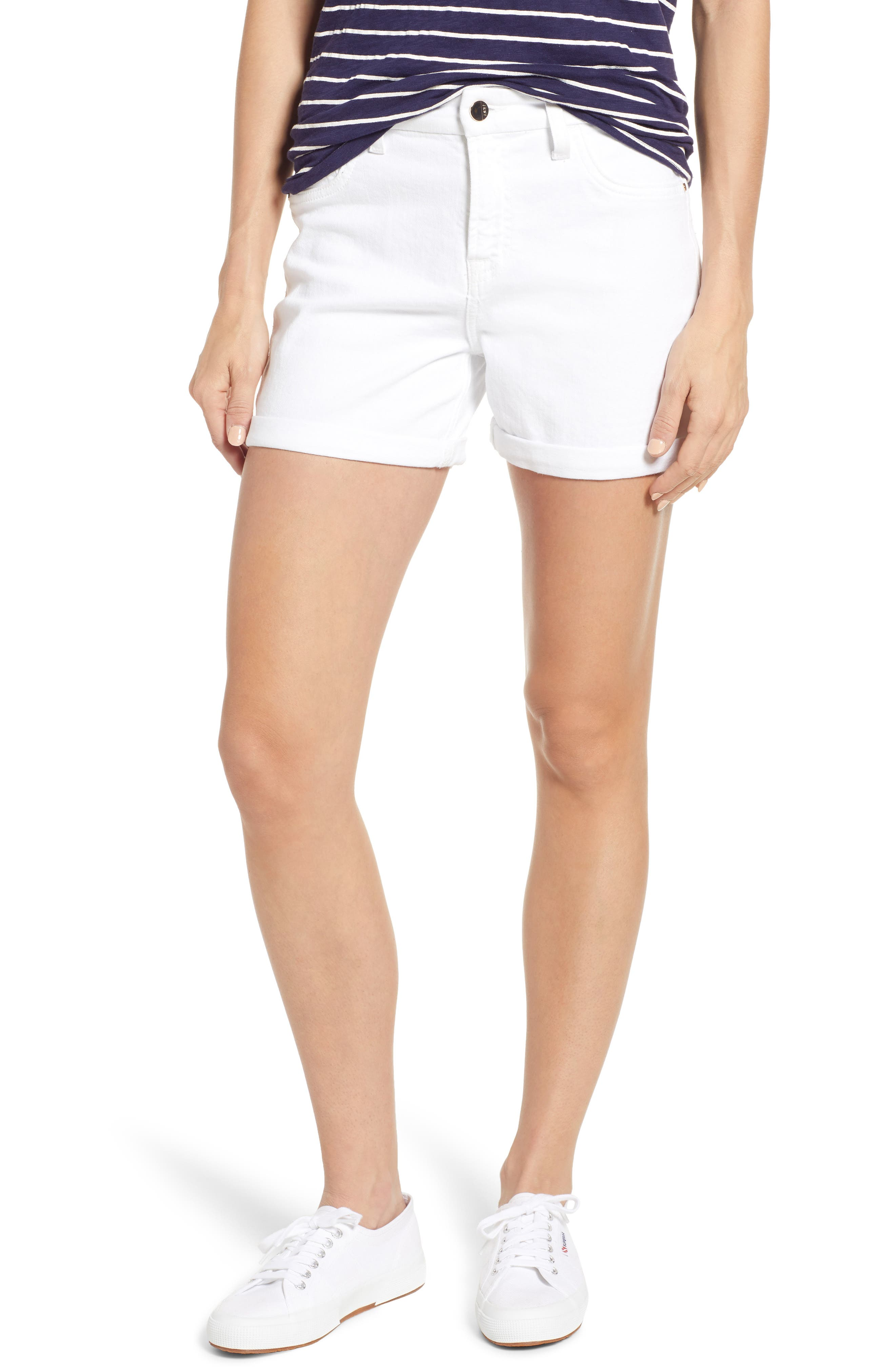 JEN7 BY 7 FOR ALL MANKIND, Roll Cuff Denim Shorts, Main thumbnail 1, color, WHITE FASHION