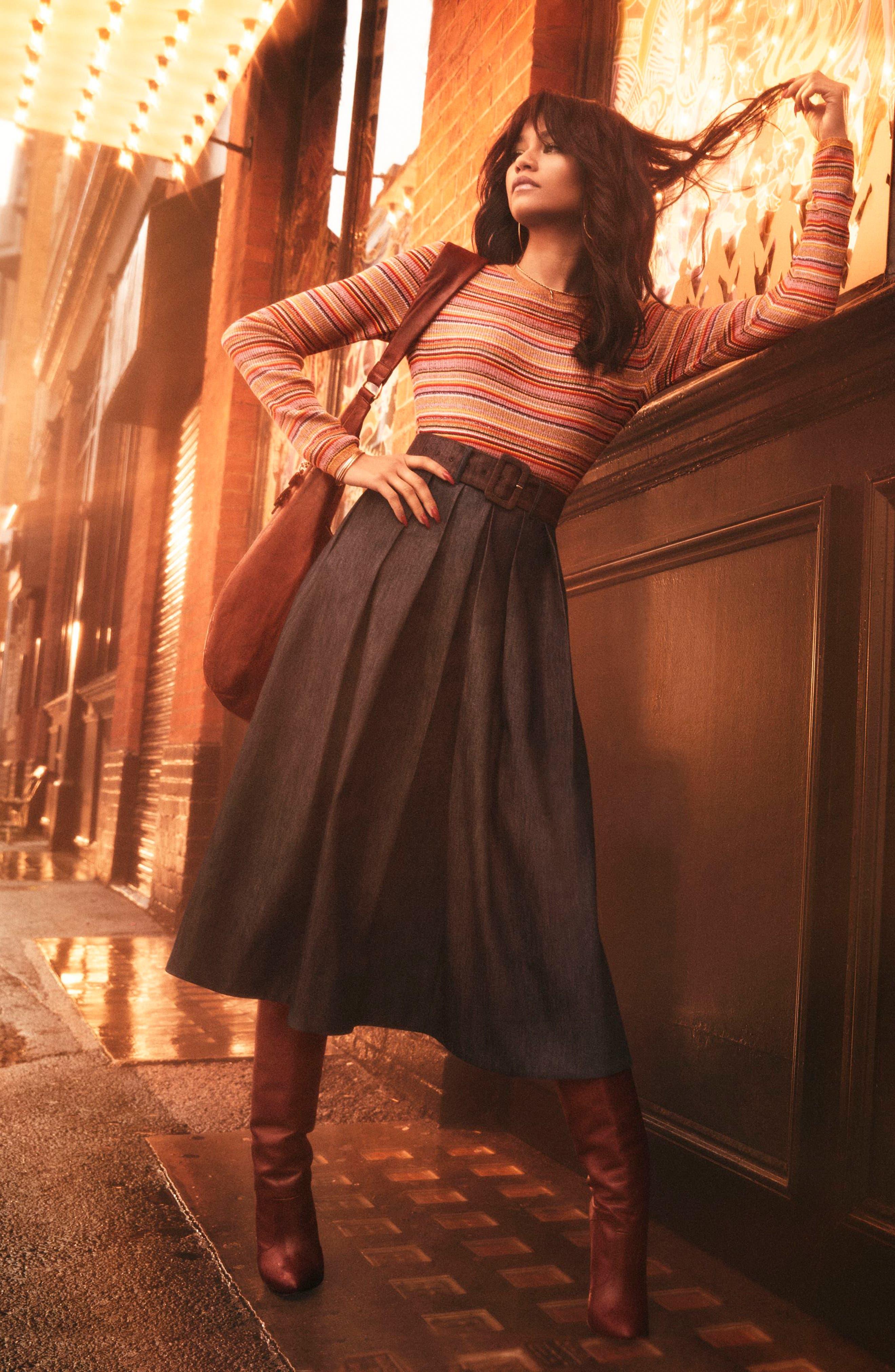 TOMMY X ZENDAYA, Belted Denim Skirt, Alternate thumbnail 8, color, 402