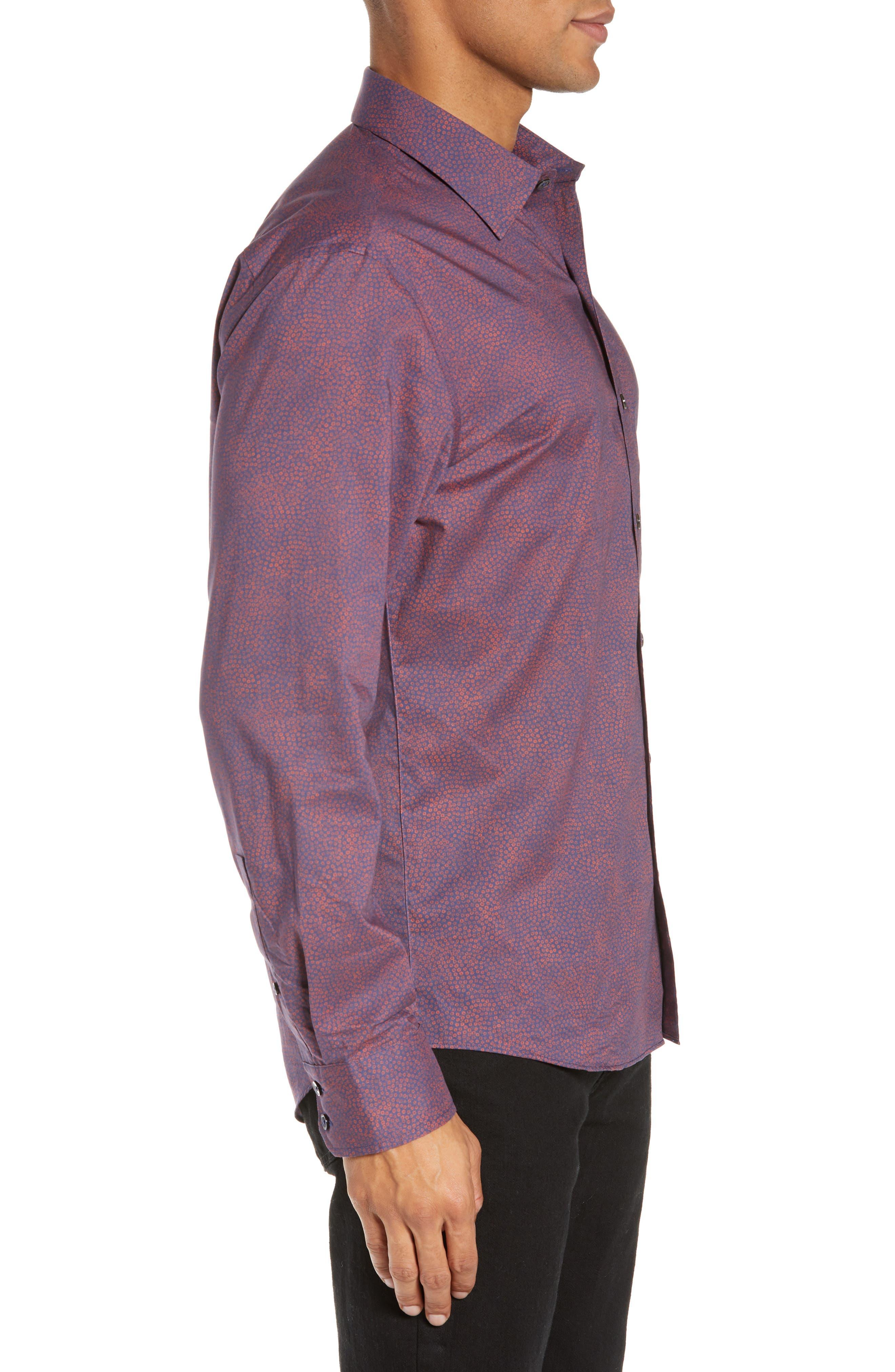 ZACHARY PRELL, Maryna Regular Fit Floral Print Sport Shirt, Alternate thumbnail 4, color, ORANGE