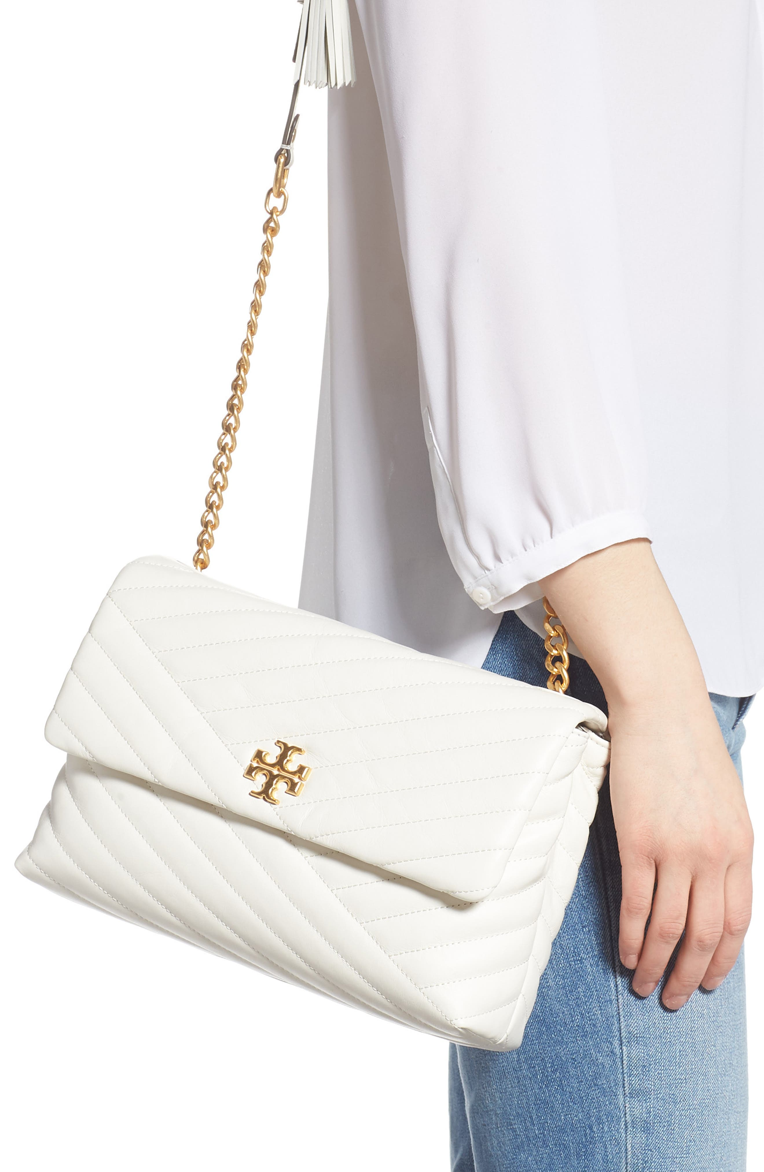 TORY BURCH, Kira Chevron Quilted Leather Shoulder Bag, Alternate thumbnail 2, color, NEW IVORY