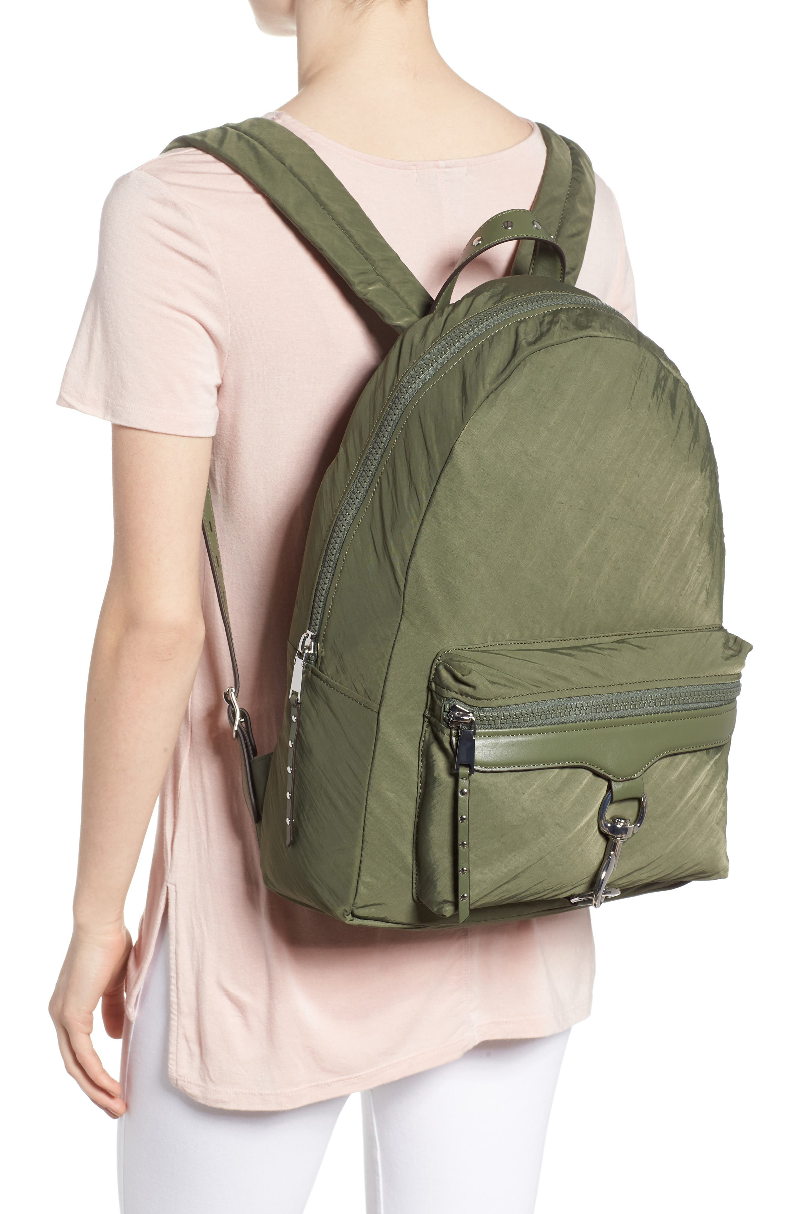REBECCA MINKOFF, Always On MAB Backpack, Alternate thumbnail 2, color, OLIVE