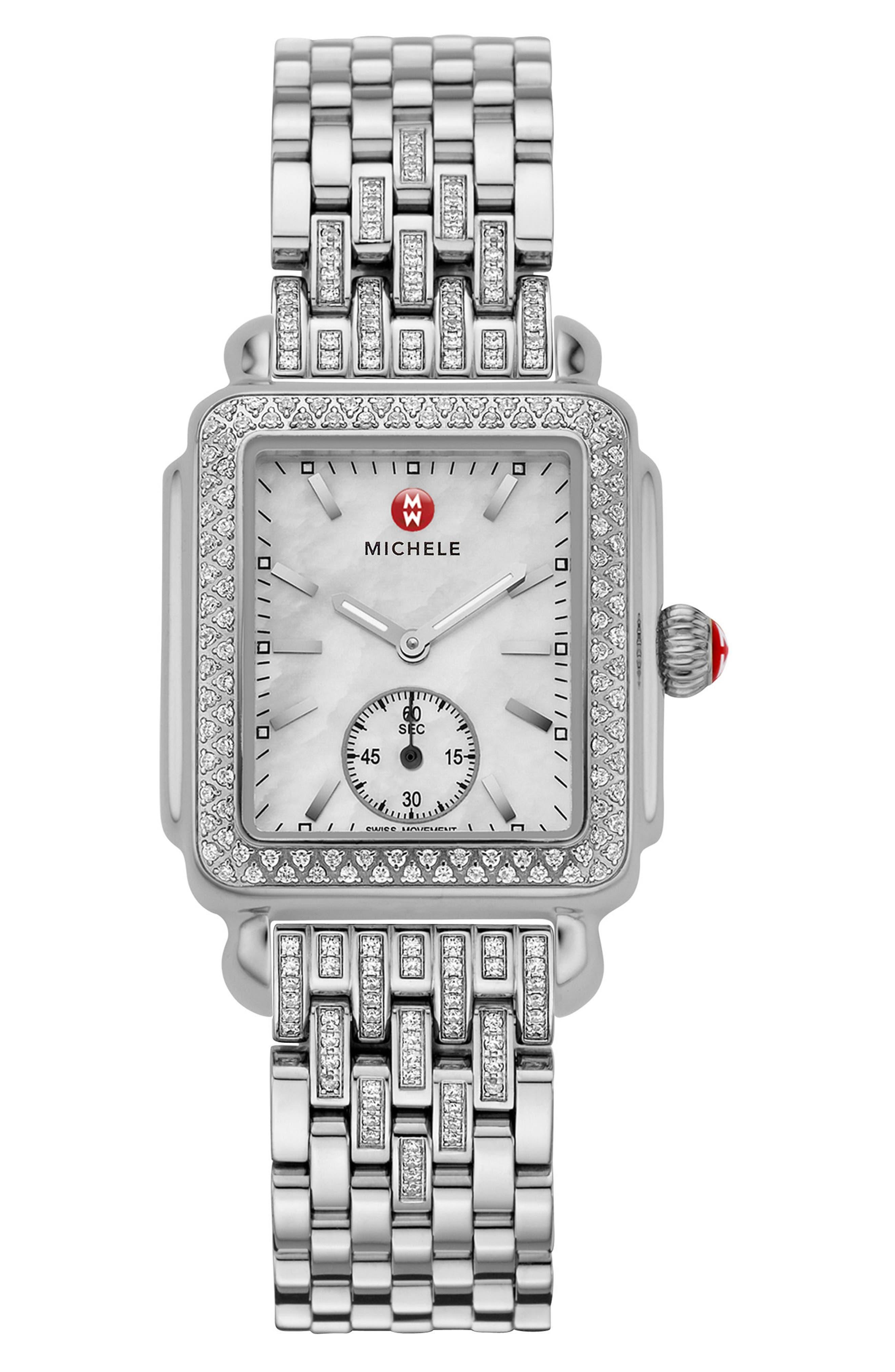 MICHELE, Deco 16 Diamond Watch Head, 29mm x 31mm, Alternate thumbnail 3, color, SILVER