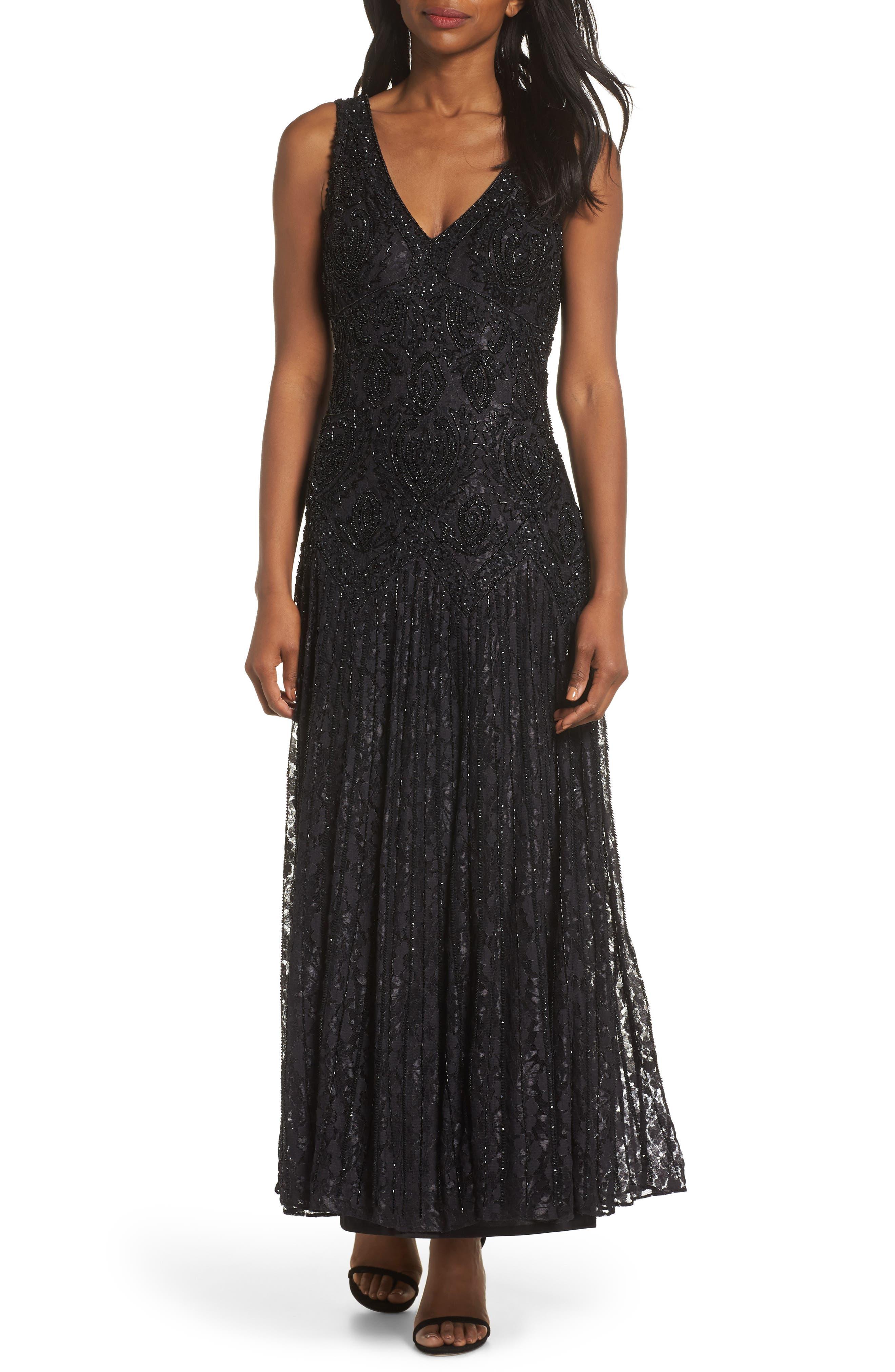 PISARRO NIGHTS, Beaded Lace Evening Dress with Bolero, Alternate thumbnail 4, color, BLACK