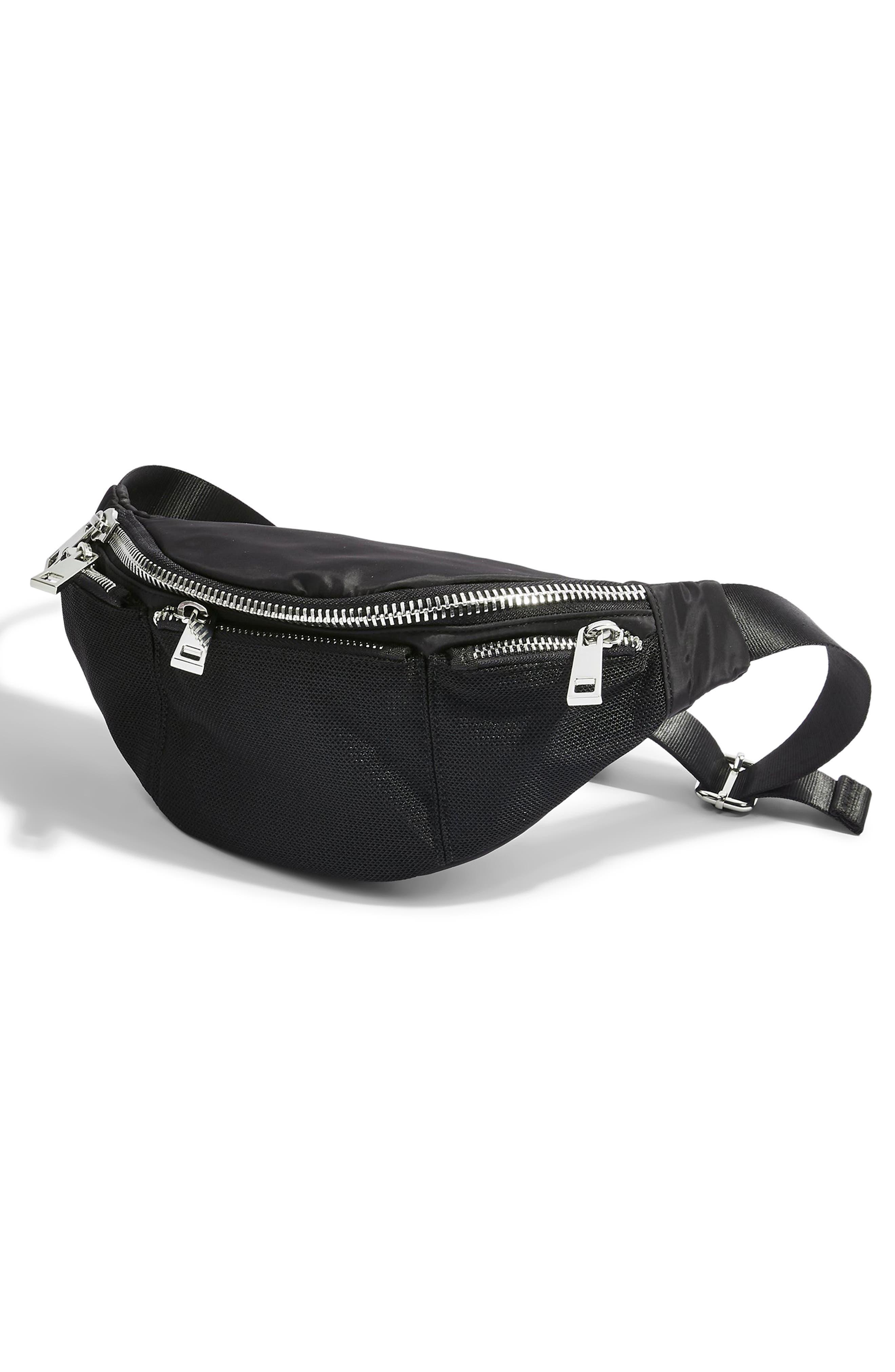 TOPSHOP, Warsaw Nylon Belt Bag, Alternate thumbnail 6, color, BLACK