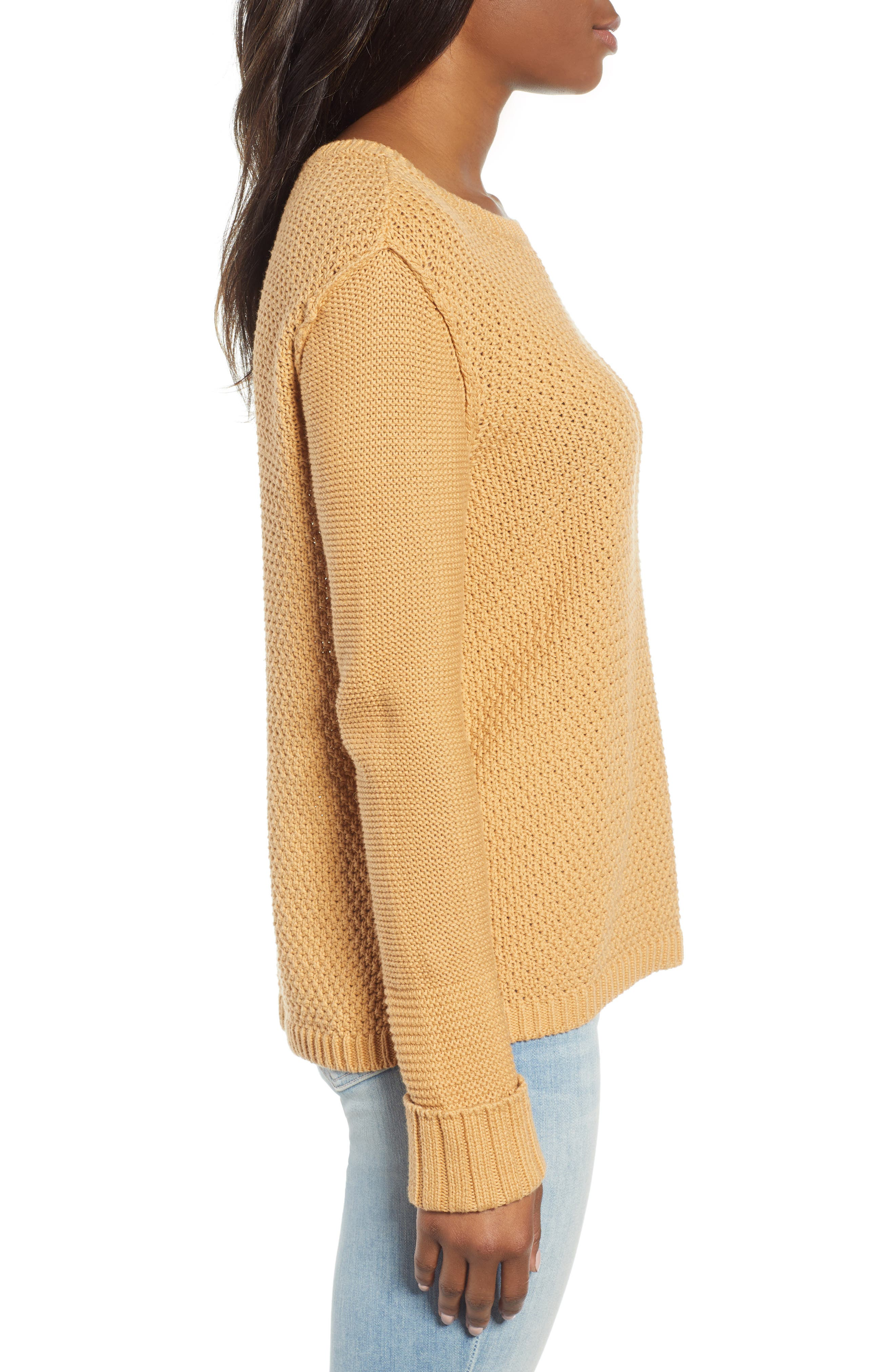 CASLON<SUP>®</SUP>, Mixed Stitch Sweater, Alternate thumbnail 3, color, TAN CINNAMON
