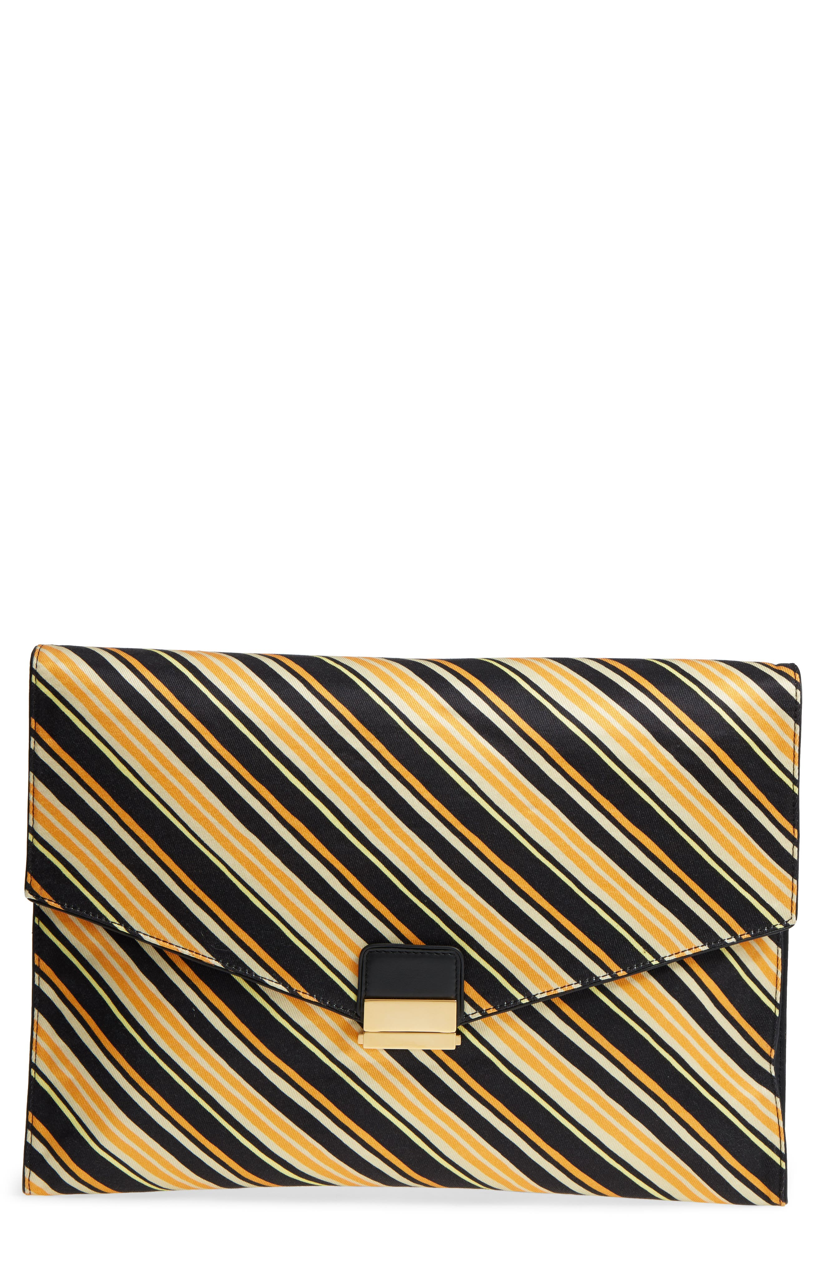 DRIES VAN NOTEN, Stripe Canvas Large Canvas Envelope Clutch, Main thumbnail 1, color, 001