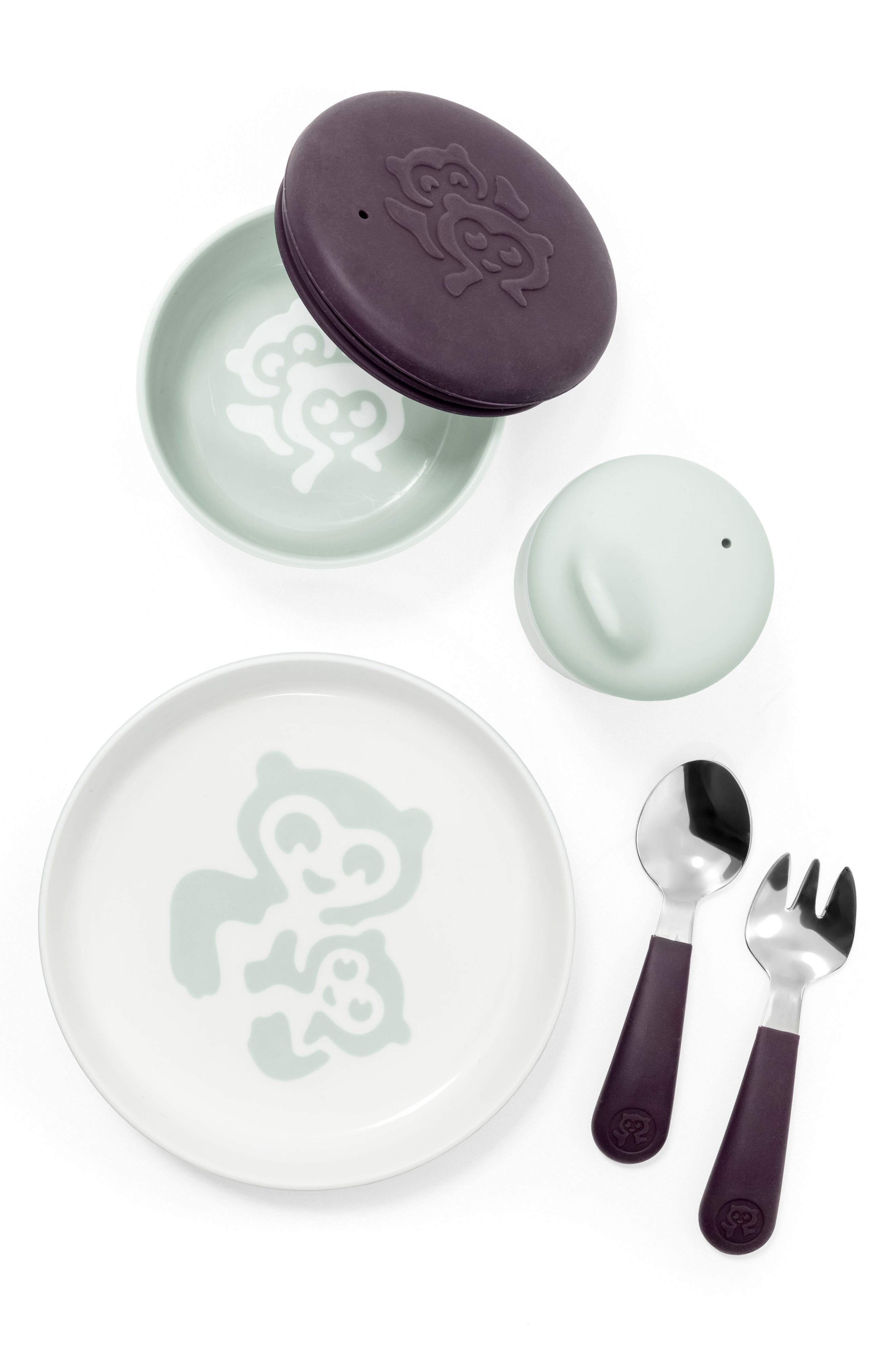 STOKKE, Munch Complete Lidded Bowl, Sippy Cup, Plate, Fork & Spoon Set, Main thumbnail 1, color, SOFT MINT