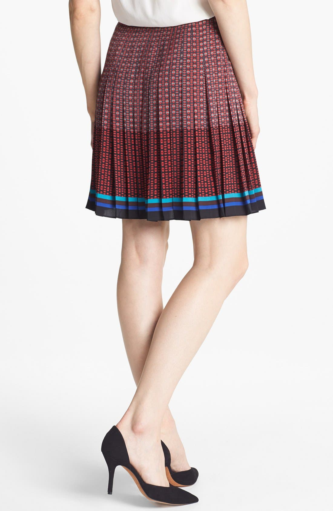 HALOGEN<SUP>®</SUP>, Front Zip Pleat Print Skirt, Alternate thumbnail 3, color, 600