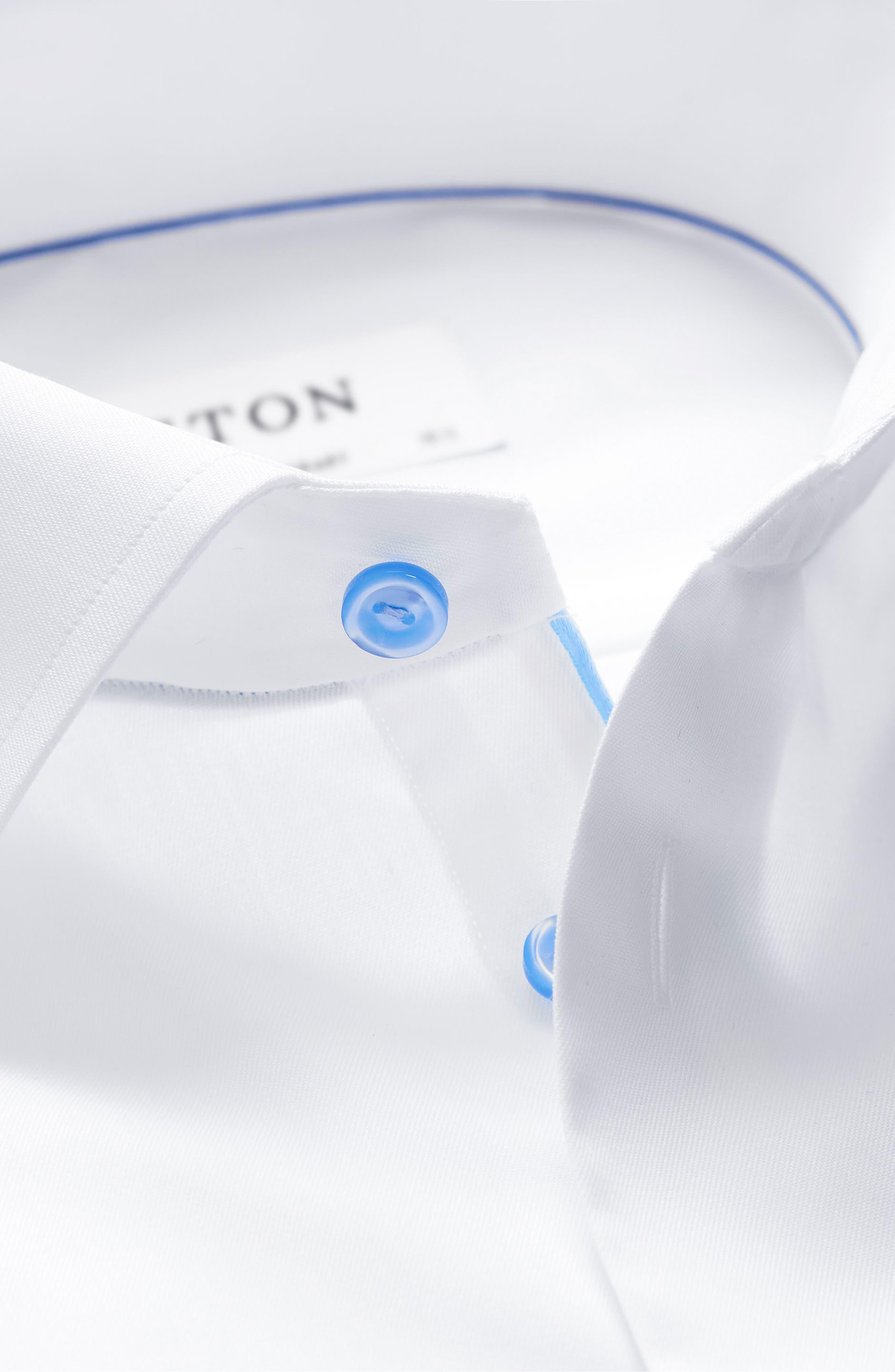 ETON, Contemporary Fit Twill Dress Shirt, Alternate thumbnail 4, color, WHITE/ BLUE