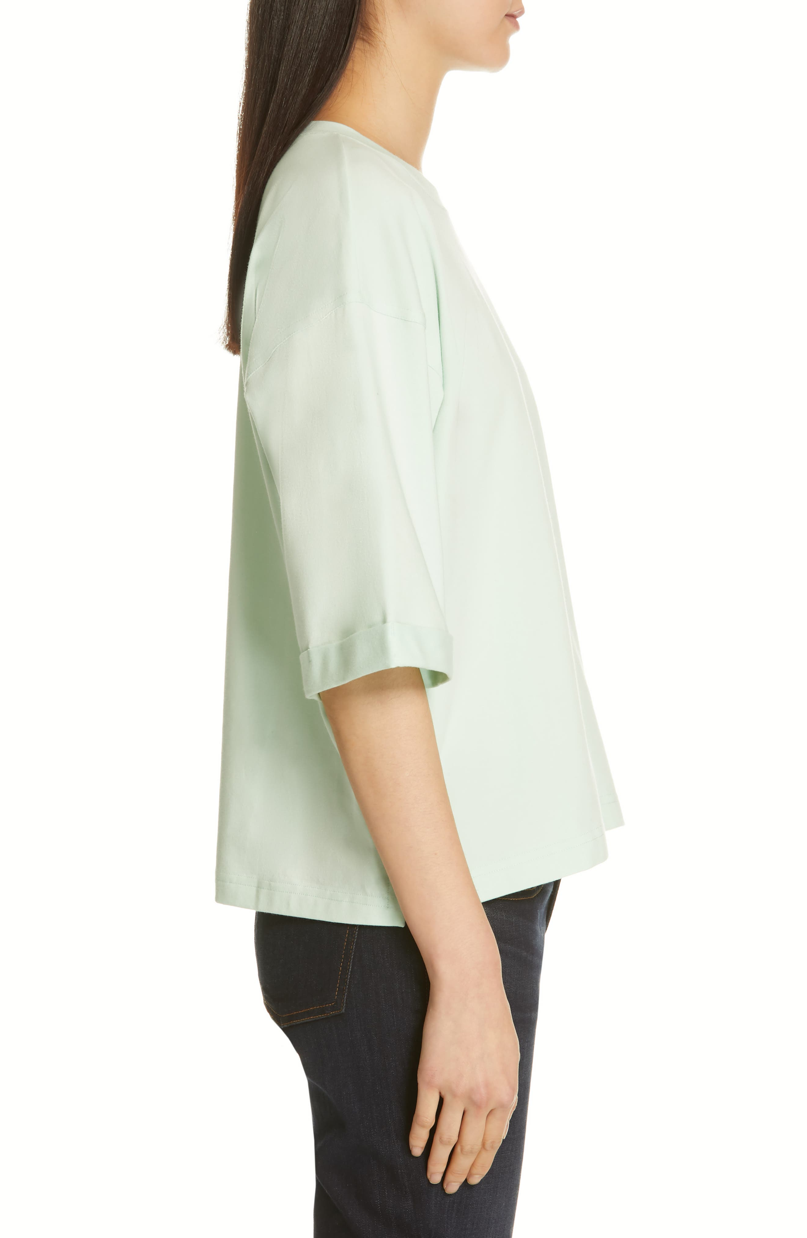 EILEEN FISHER, Stretch Organic Cotton Top, Alternate thumbnail 3, color, PRISM