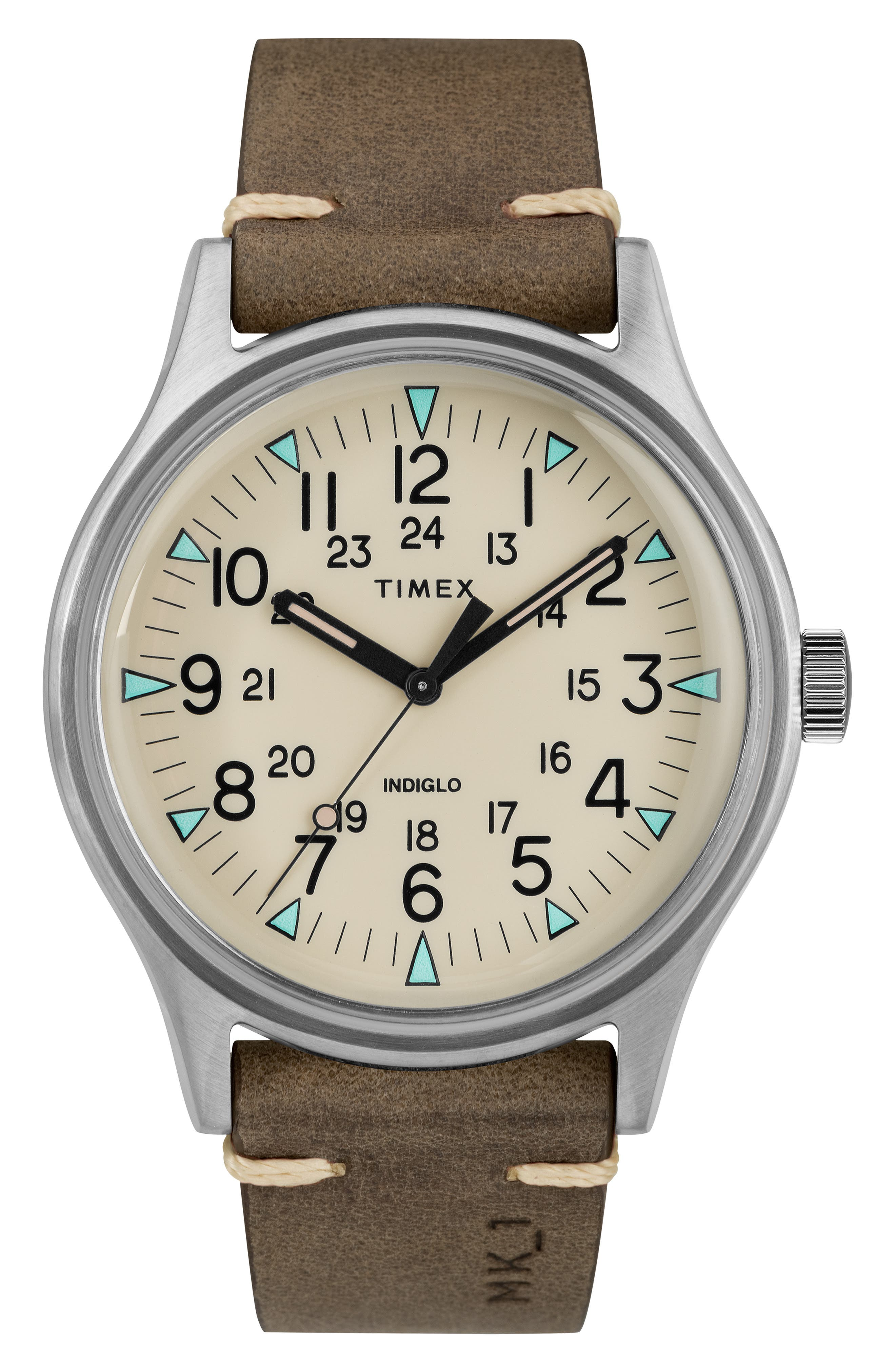 TIMEX<SUP>®</SUP>, MK1 Leather Strap Watch, 40mm, Main thumbnail 1, color, BROWN/ CREAM/ SILVER