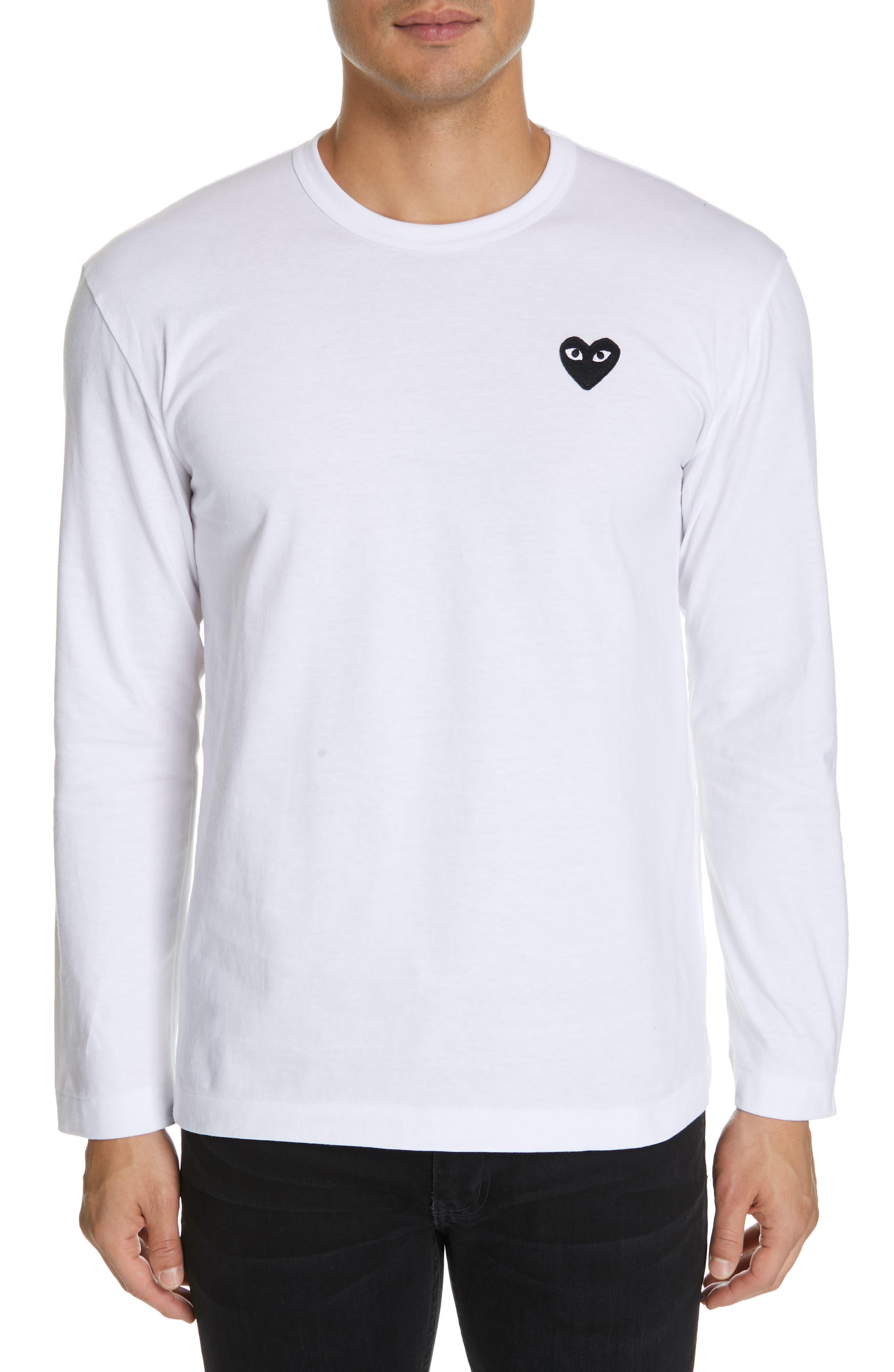 COMME DES GARÇONS PLAY, Black Heart T-Shirt, Main thumbnail 1, color, WHITE