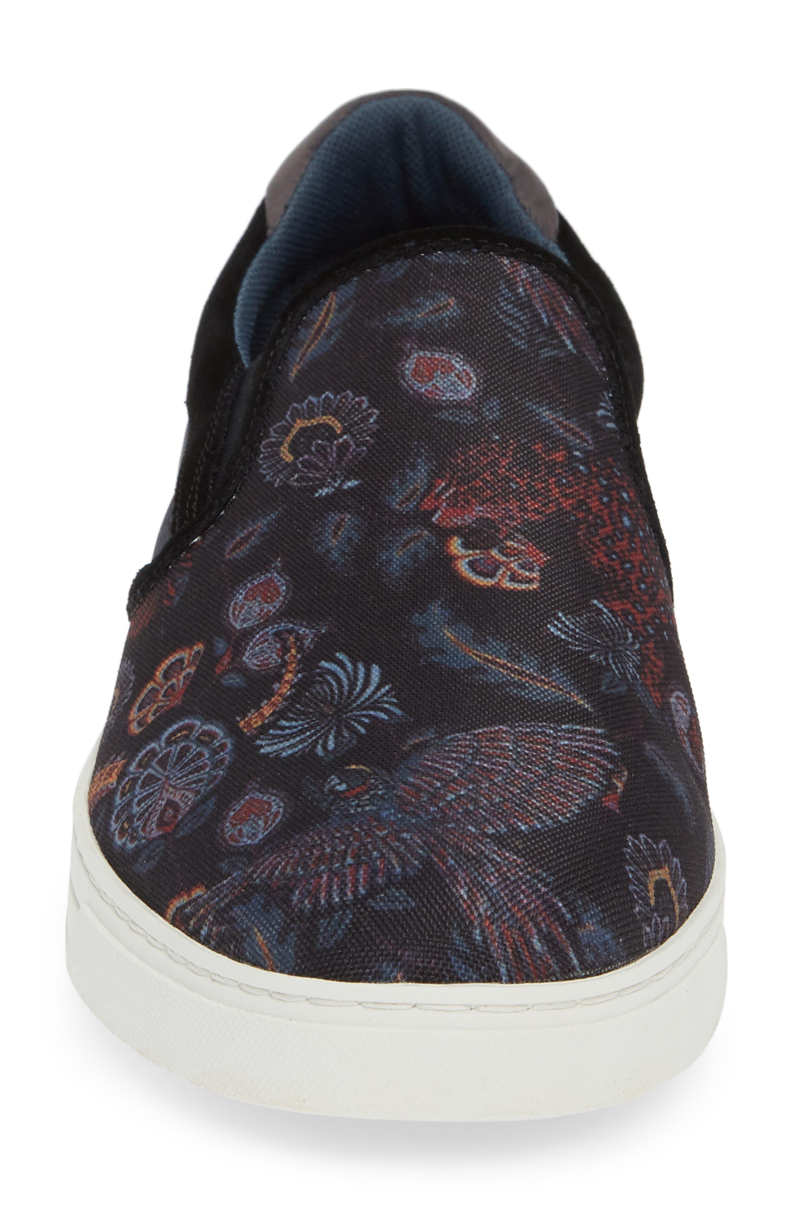 TED BAKER LONDON, Mhako Slip-On Sneaker, Alternate thumbnail 4, color, BLACK/ GREY