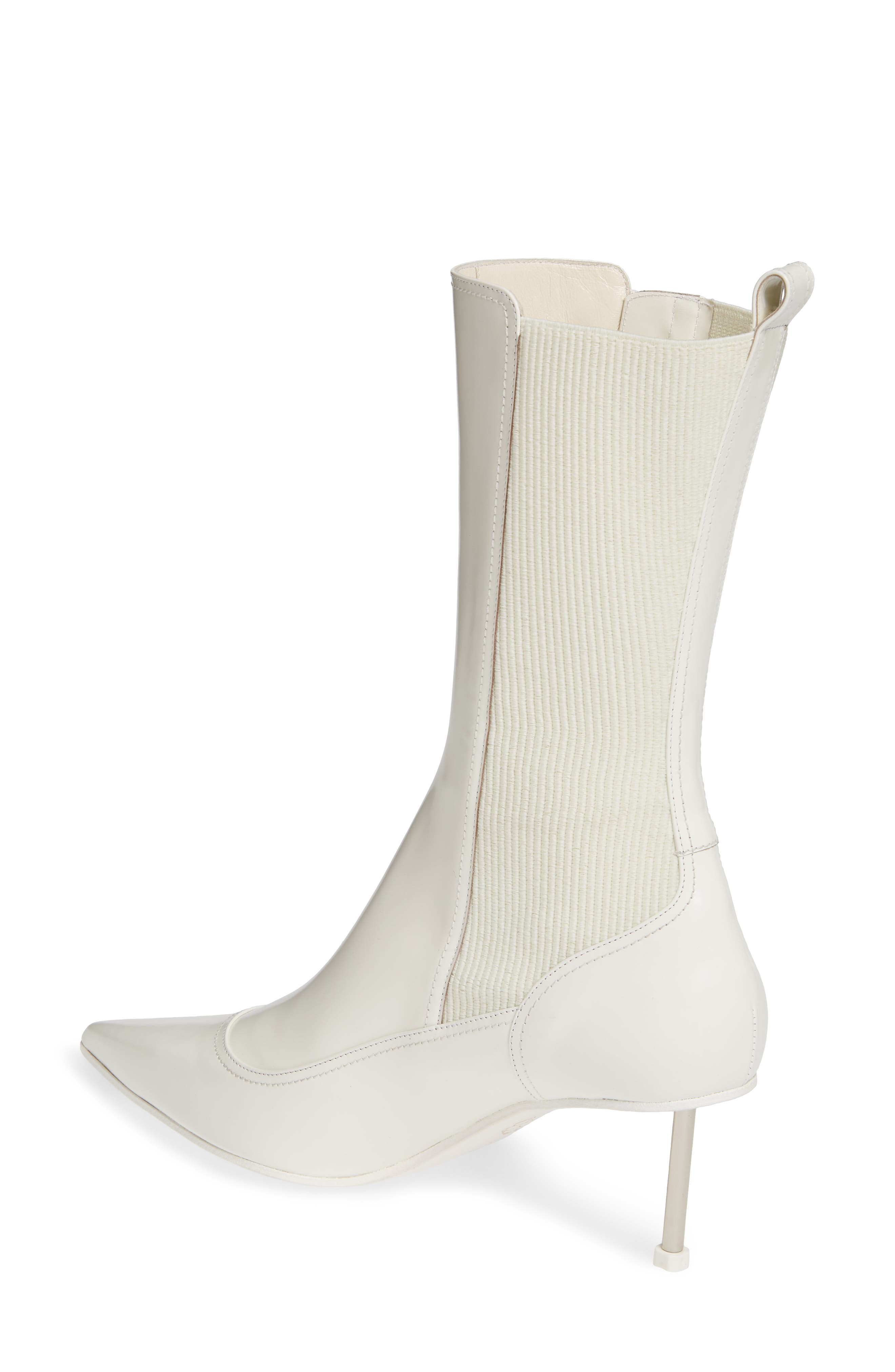 ALEXANDER MCQUEEN, Button Pointy Toe Boot, Alternate thumbnail 2, color, IVORY/ BLACK