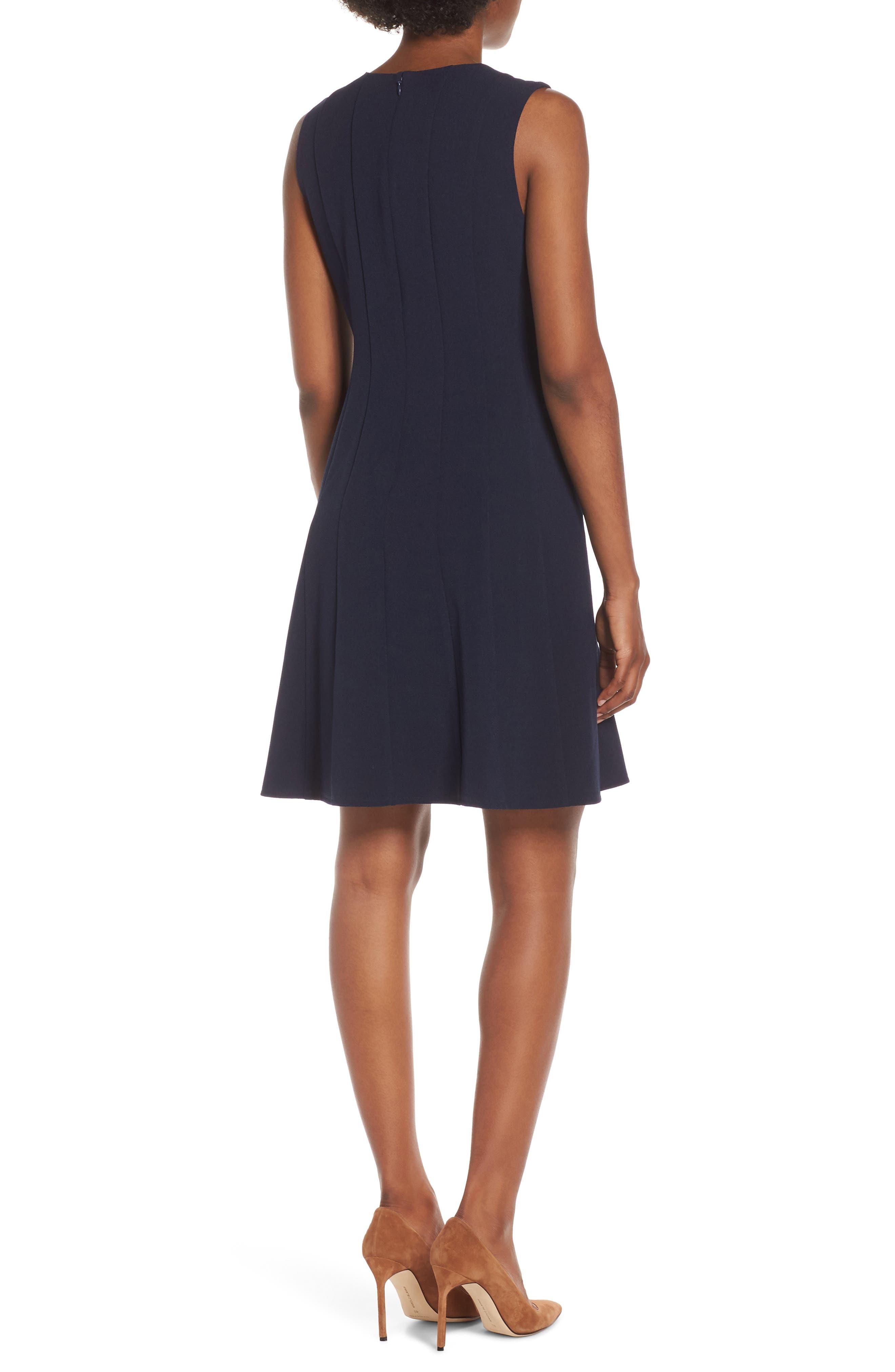 JULIA JORDAN, Sleeveless Pleat Panel Fit & Flare Dress, Alternate thumbnail 2, color, NAVY