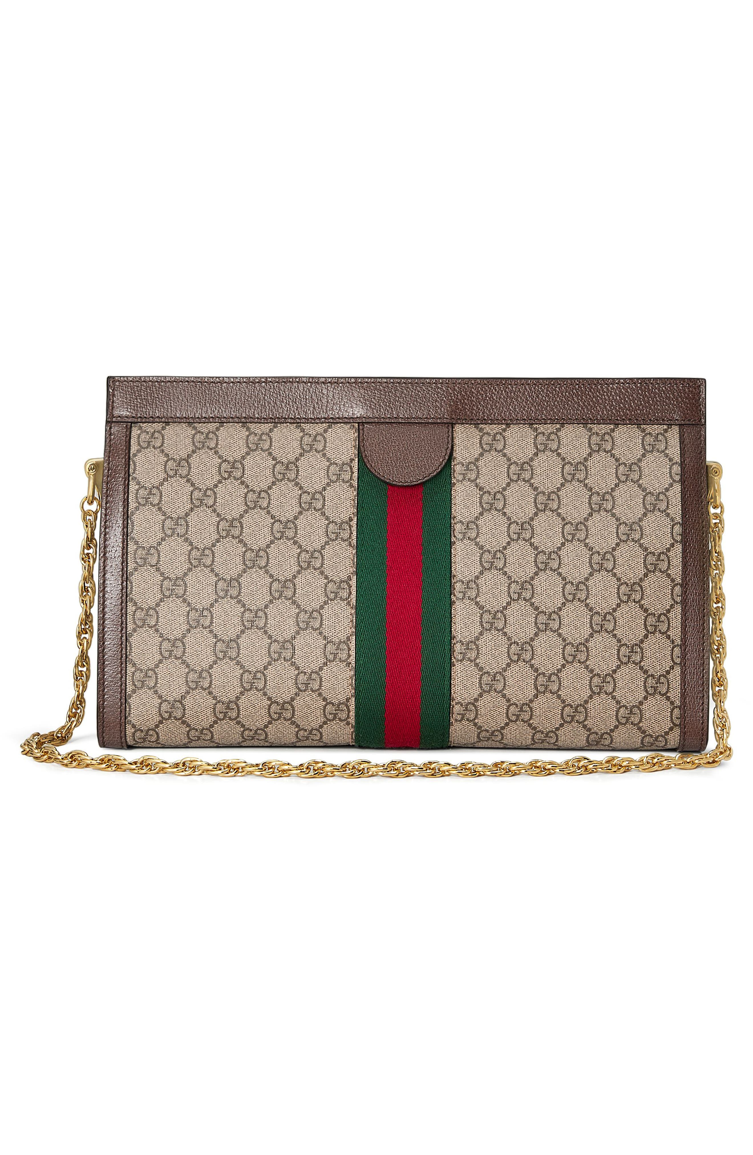 GUCCI, GG Supreme Canvas Shoulder Bag, Alternate thumbnail 2, color, BEIGE EBONY/ NERO/ VERT/ RED