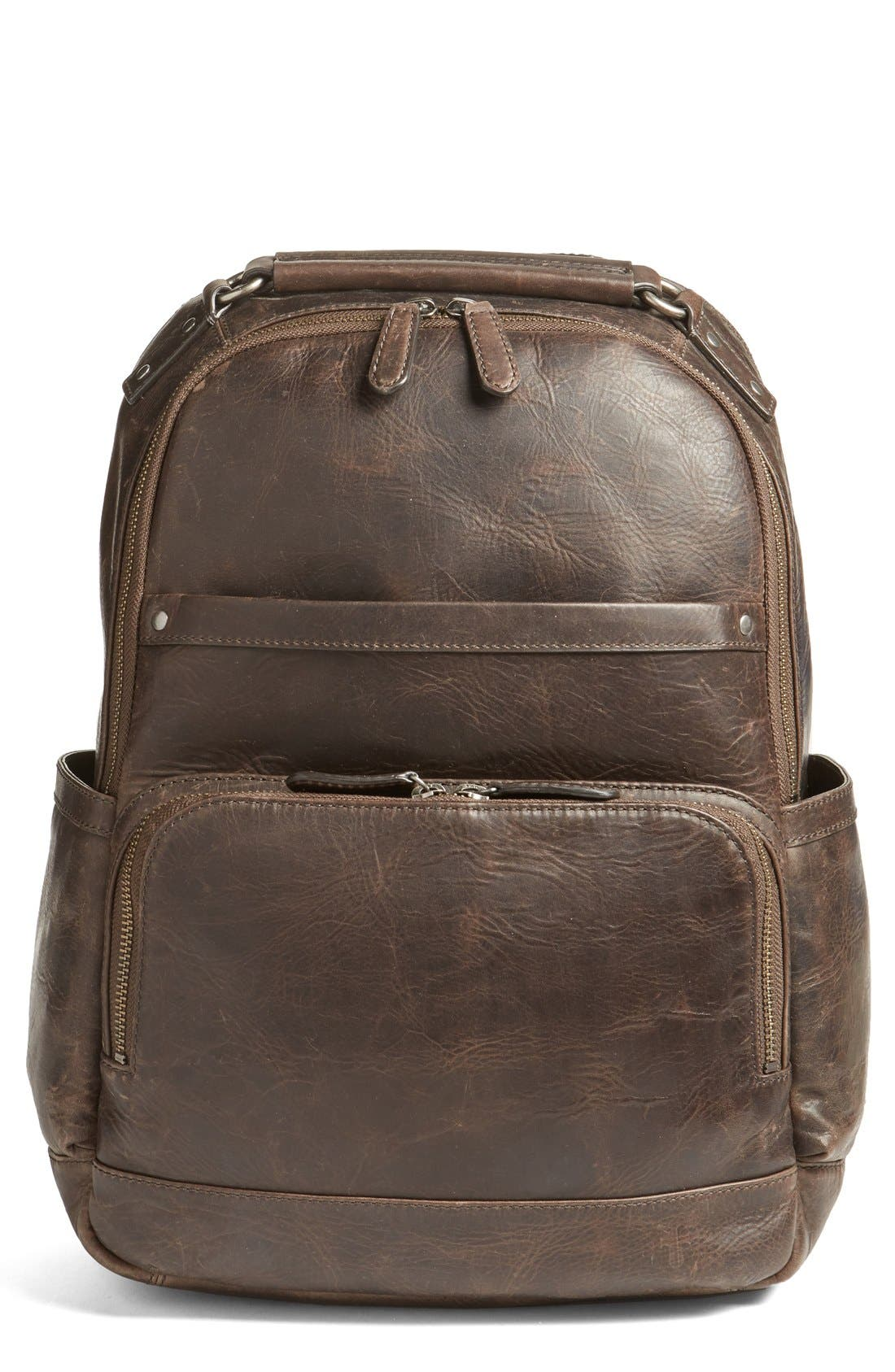 FRYE 'Logan' Leather Backpack, Main, color, SLATE