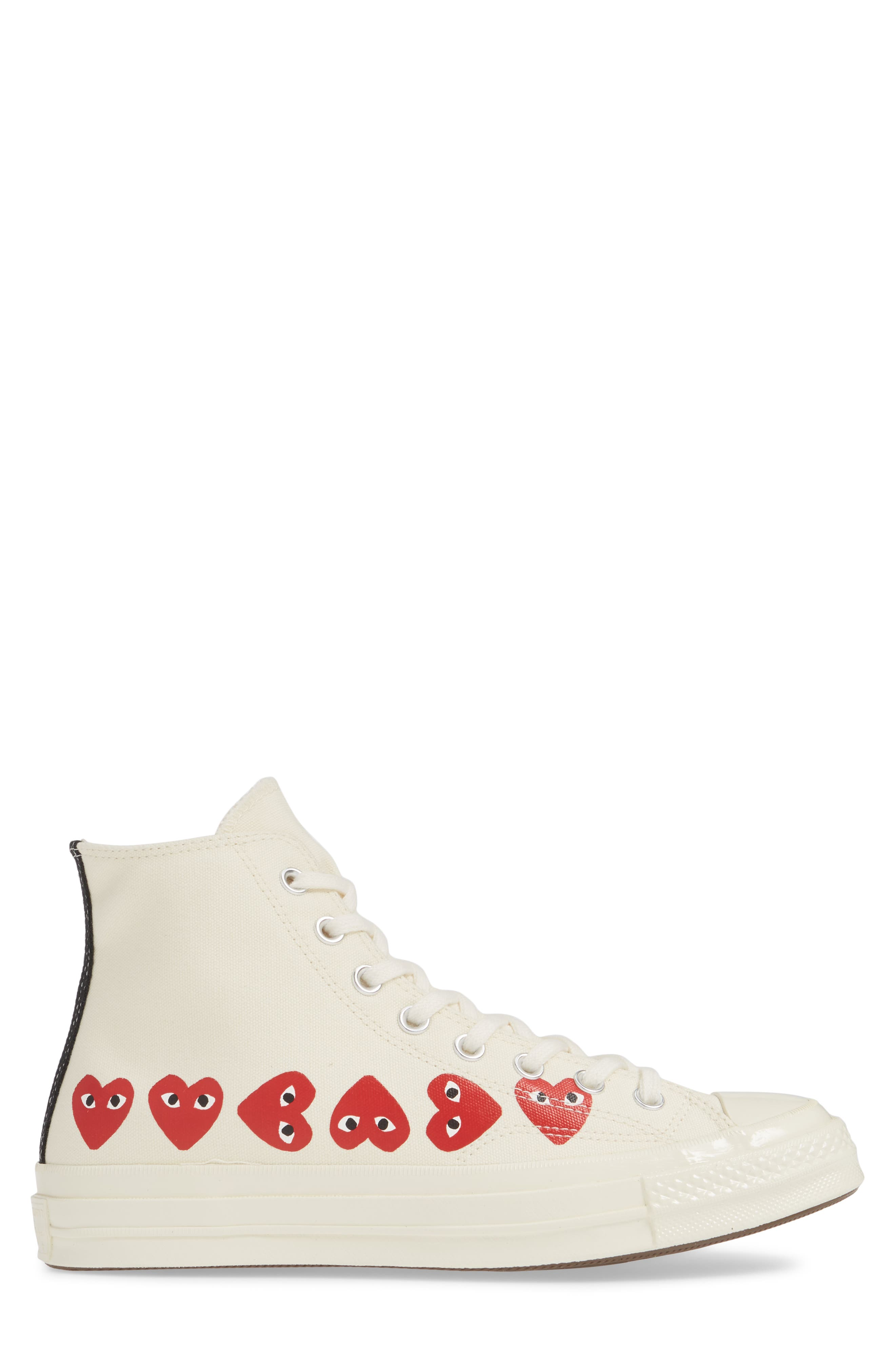COMME DES GARÇONS PLAY, Multiheart Sneaker, Alternate thumbnail 3, color, OFF WHITE