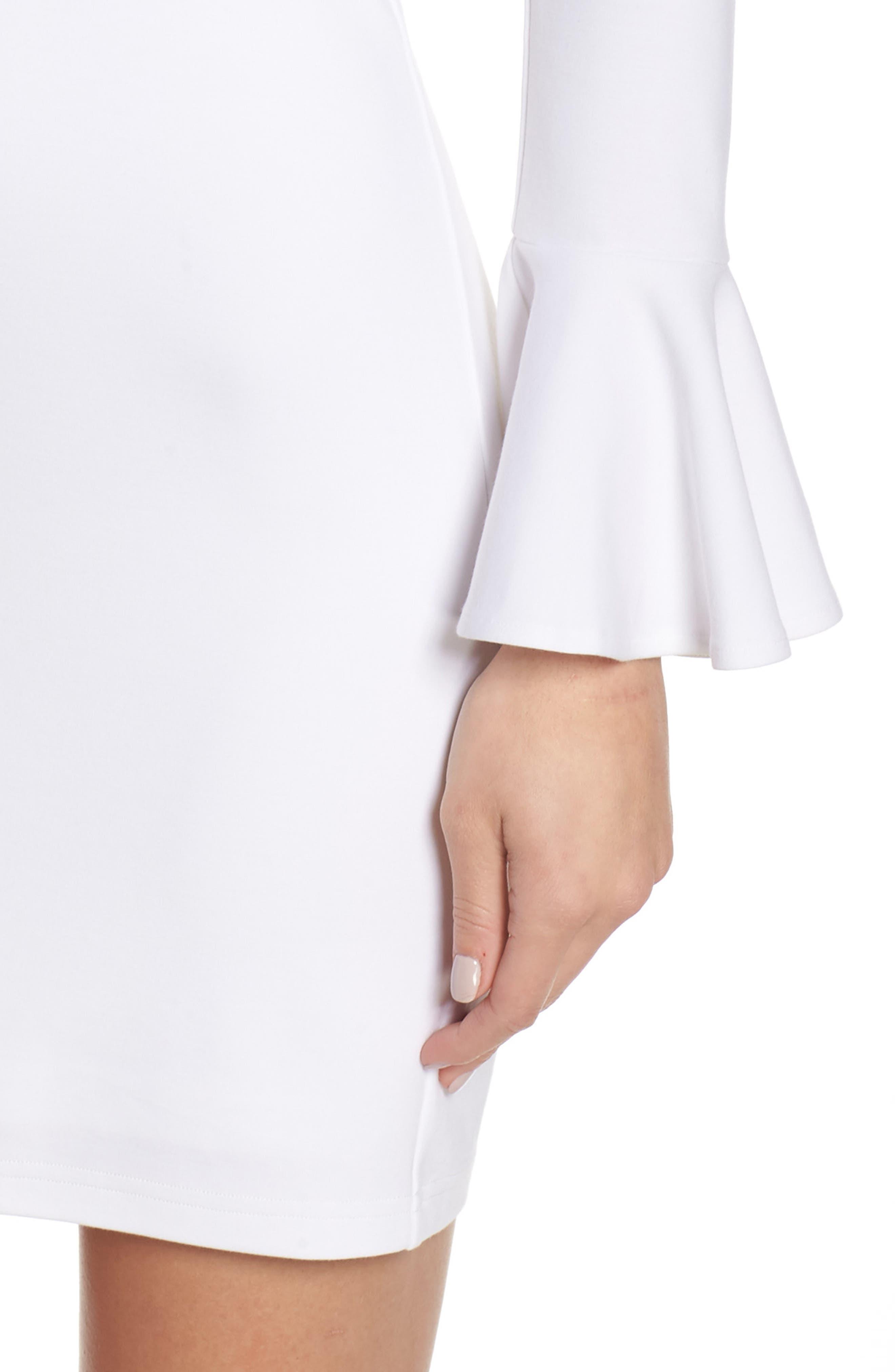 ALI & JAY, Pavillion Bell Cuff Sheath Dress, Alternate thumbnail 5, color, WHITE