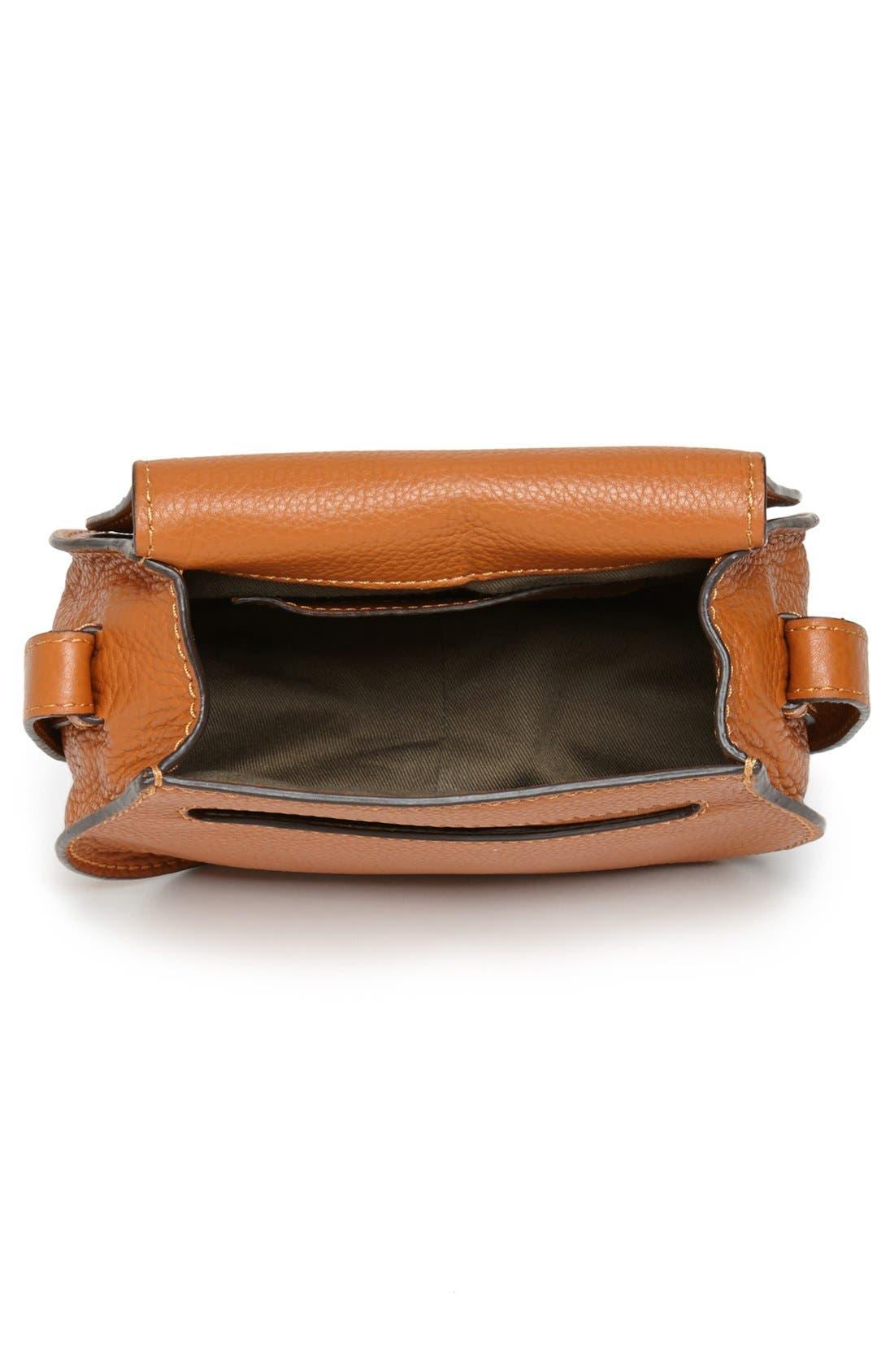CHLOÉ, 'Mini Marcie' Leather Crossbody Bag, Alternate thumbnail 4, color, TAN GOLD HRDWRE