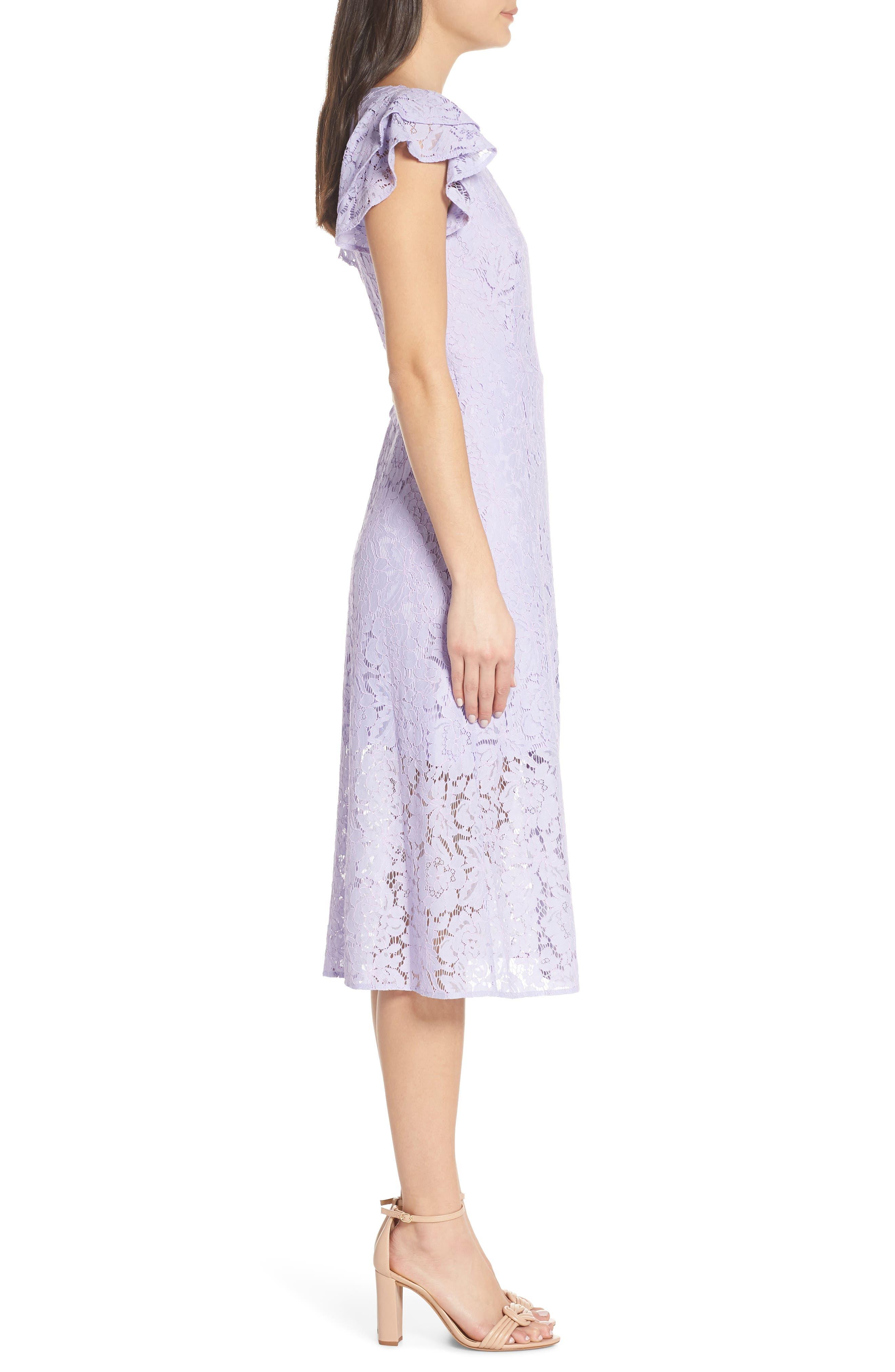 ALI & JAY, Ruffle Sleeve Wrap Lace Midi Dress, Alternate thumbnail 4, color, LAVENDER