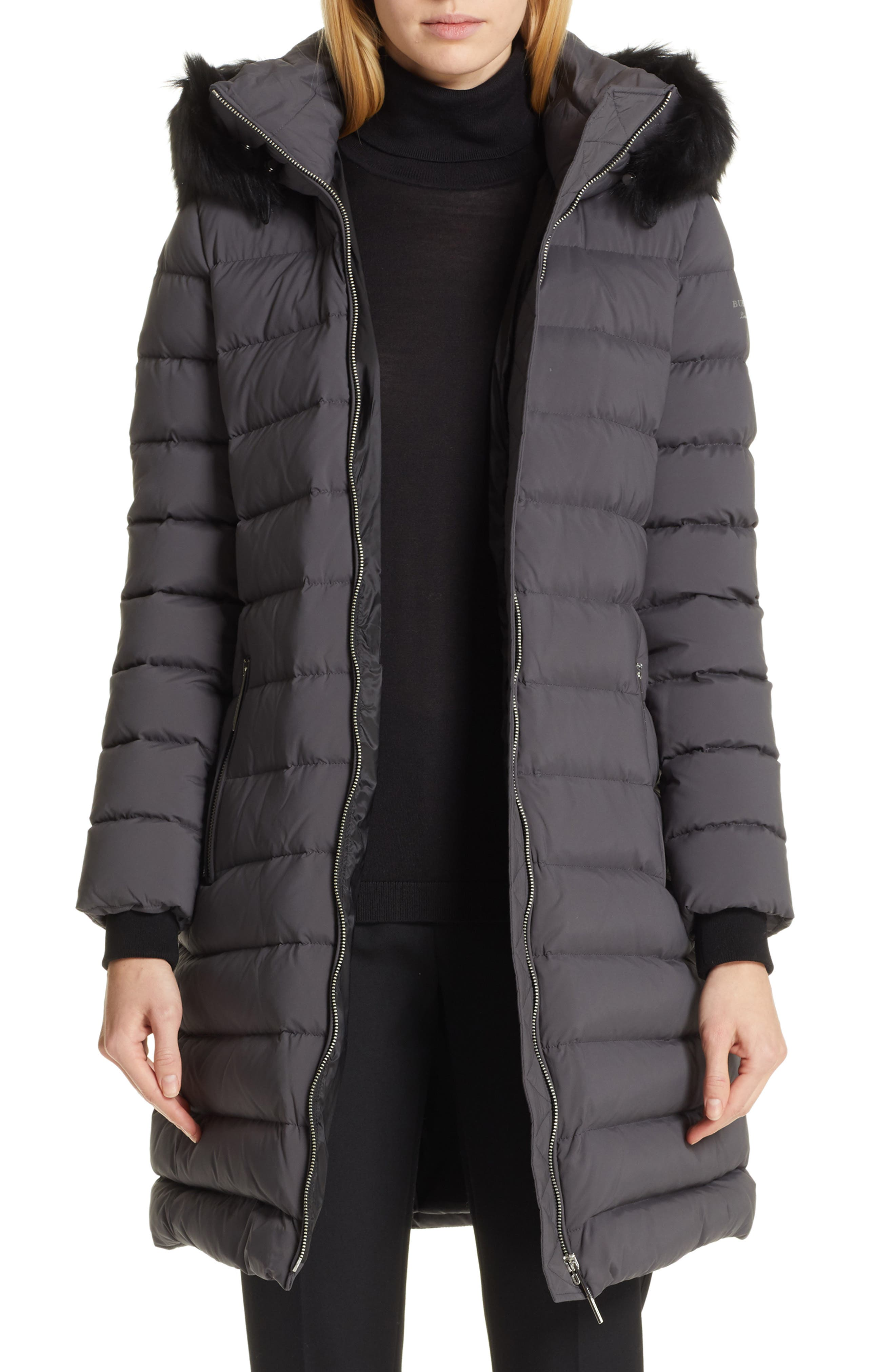 BURBERRY, Limehouse Quilted Down Puffer Coat with Removable Genuine Shearling Trim, Main thumbnail 1, color, MID GREY