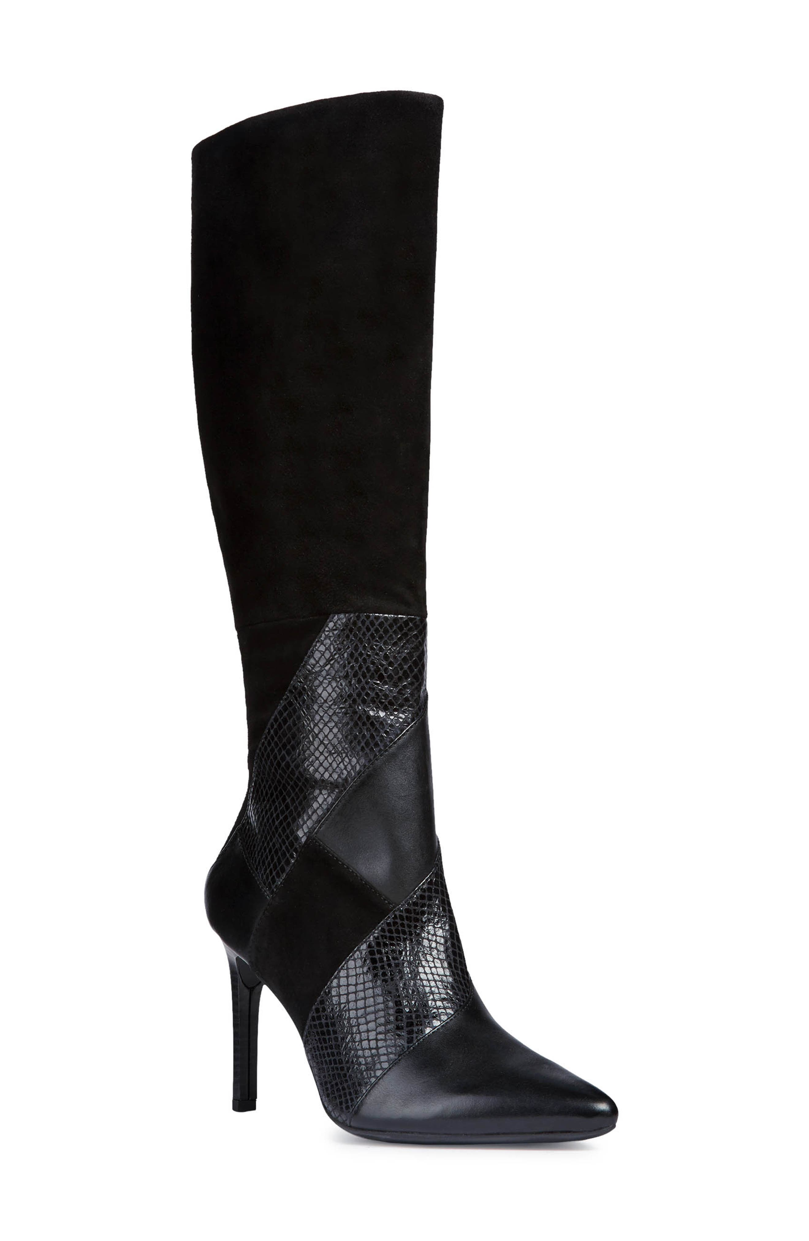 GEOX, Faviola Knee High Boot, Main thumbnail 1, color, BLACK LEATHER