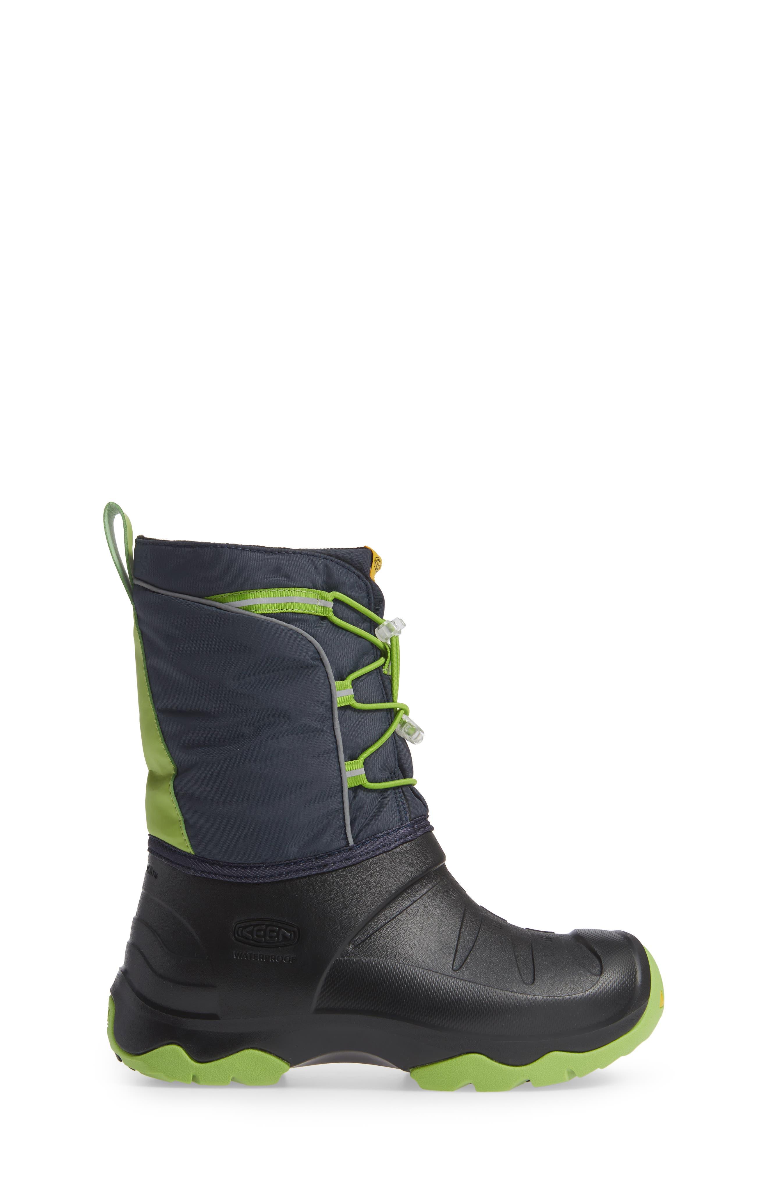 KEEN, Lumi Waterproof Boot, Alternate thumbnail 3, color, BLUE/ GREENERY