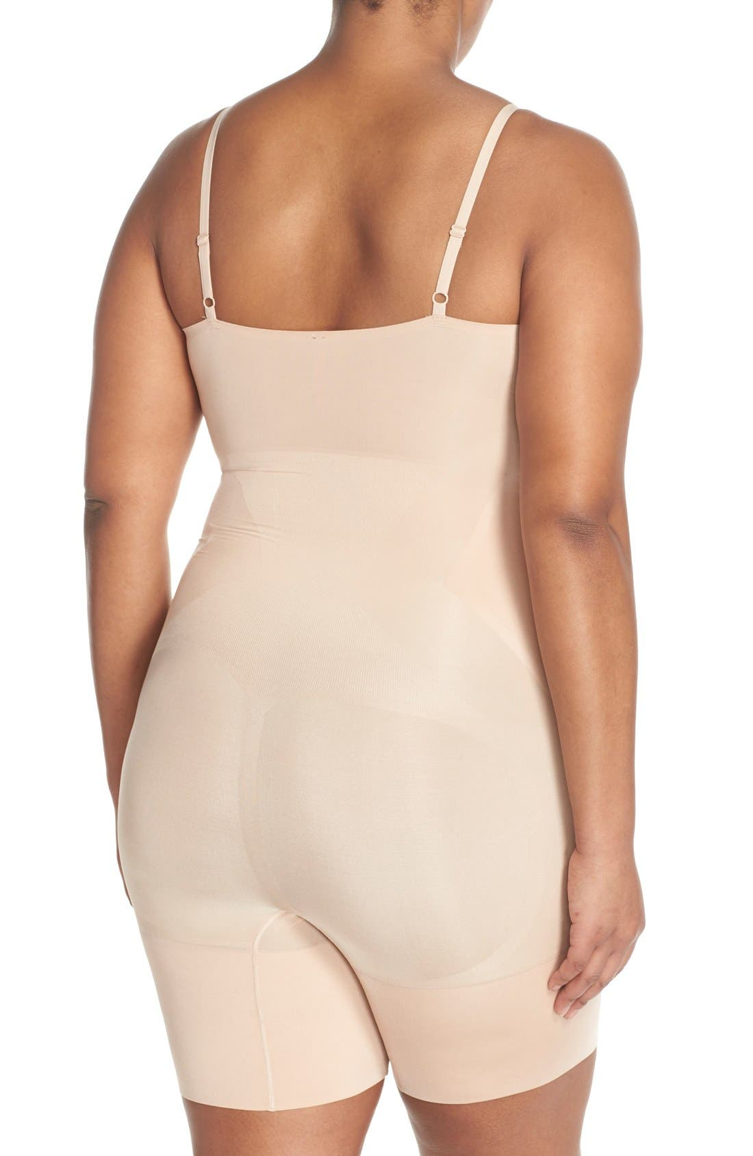 SPANX<SUP>®</SUP>, OnCore Mid-Thigh Bodysuit, Alternate thumbnail 2, color, SOFT NUDE
