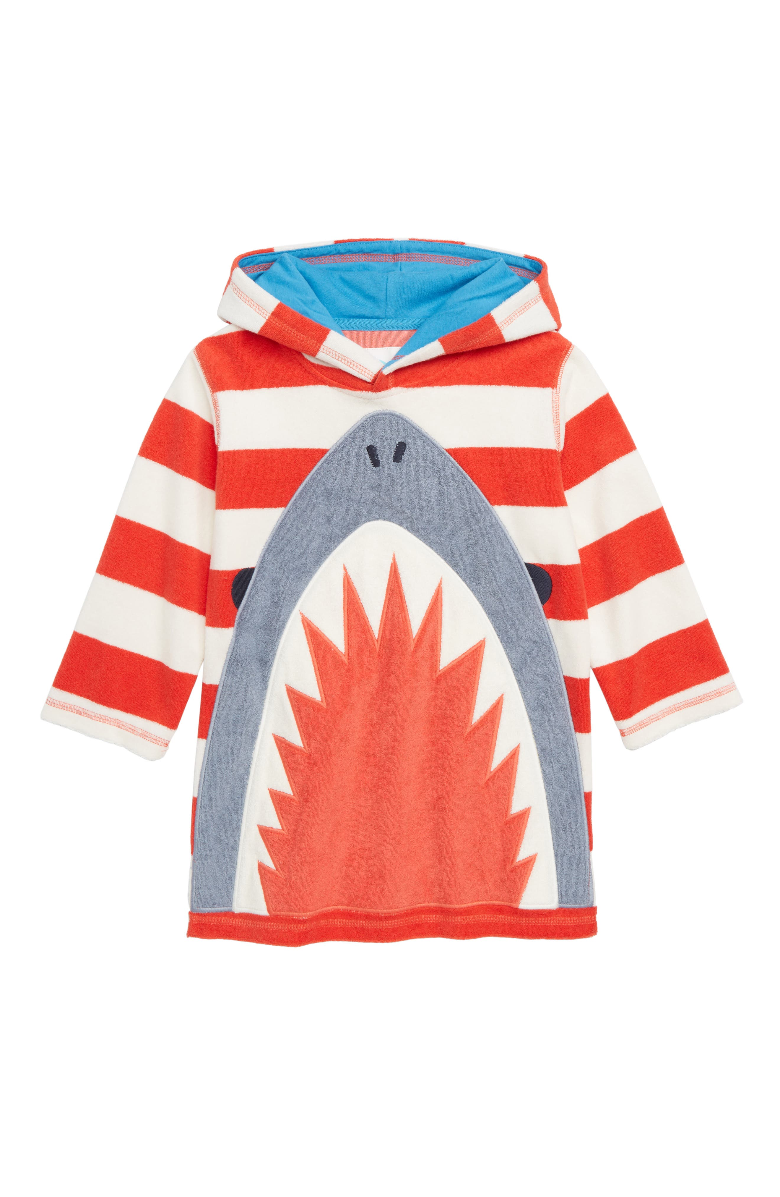 MINI BODEN Towelling Hooded Cover-Up, Main, color, BEAM RED/ IVORY SHARK