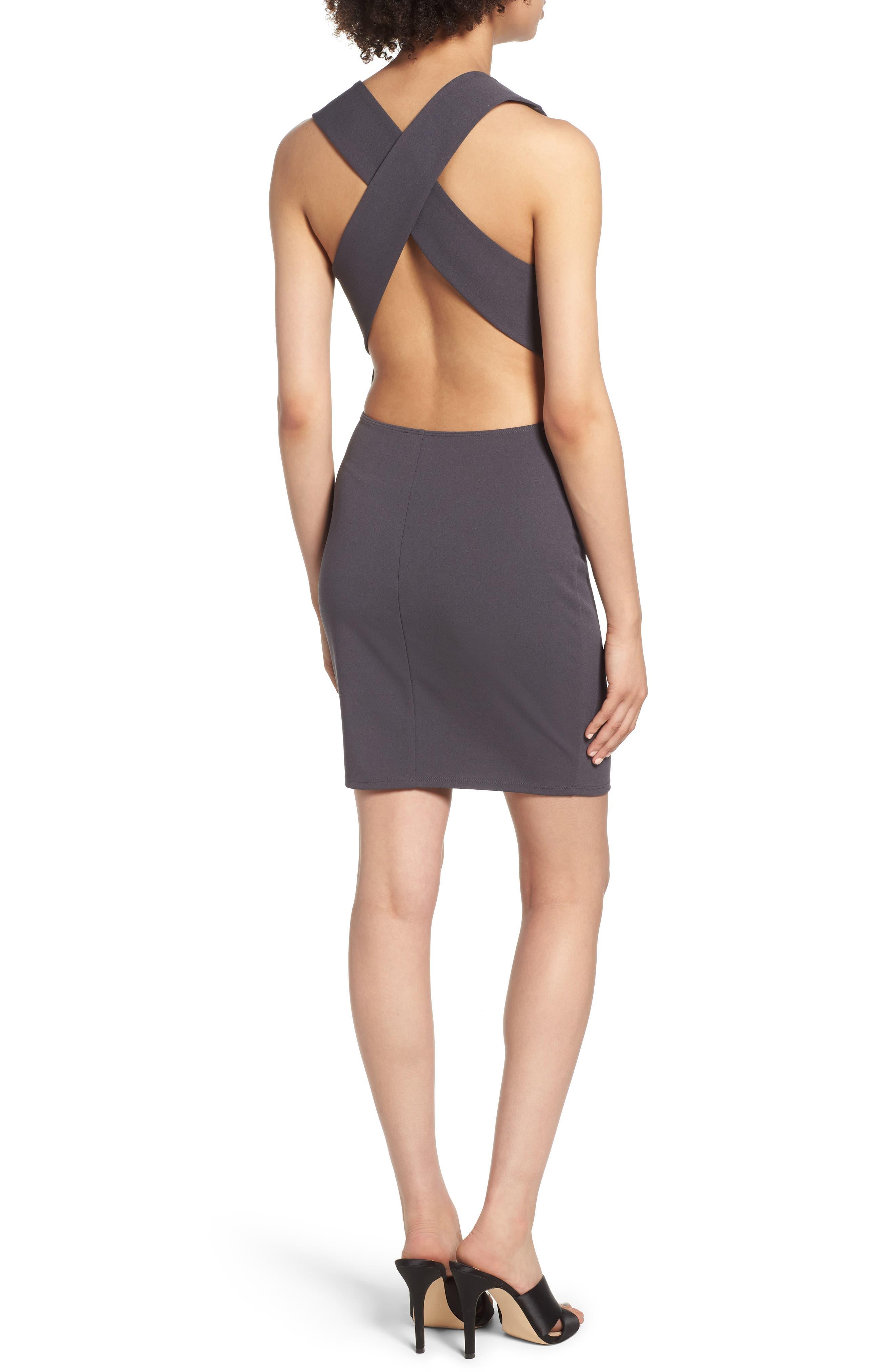 SOPRANO, Crossback Body-Con Dress, Alternate thumbnail 2, color, 020