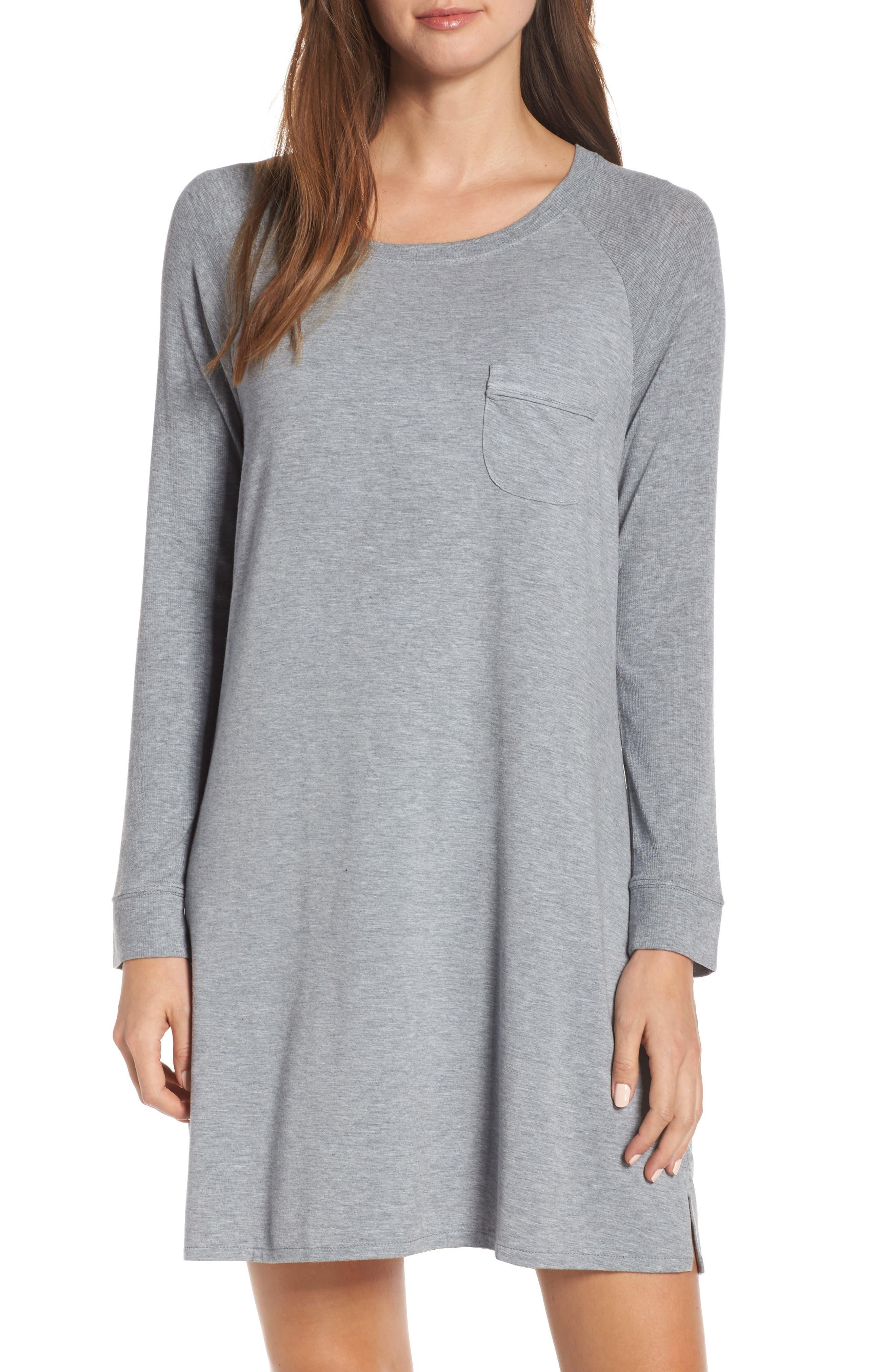 NORDSTROM LINGERIE Breathe Sleep Shirt, Main, color, GREY STEEL HEATHER