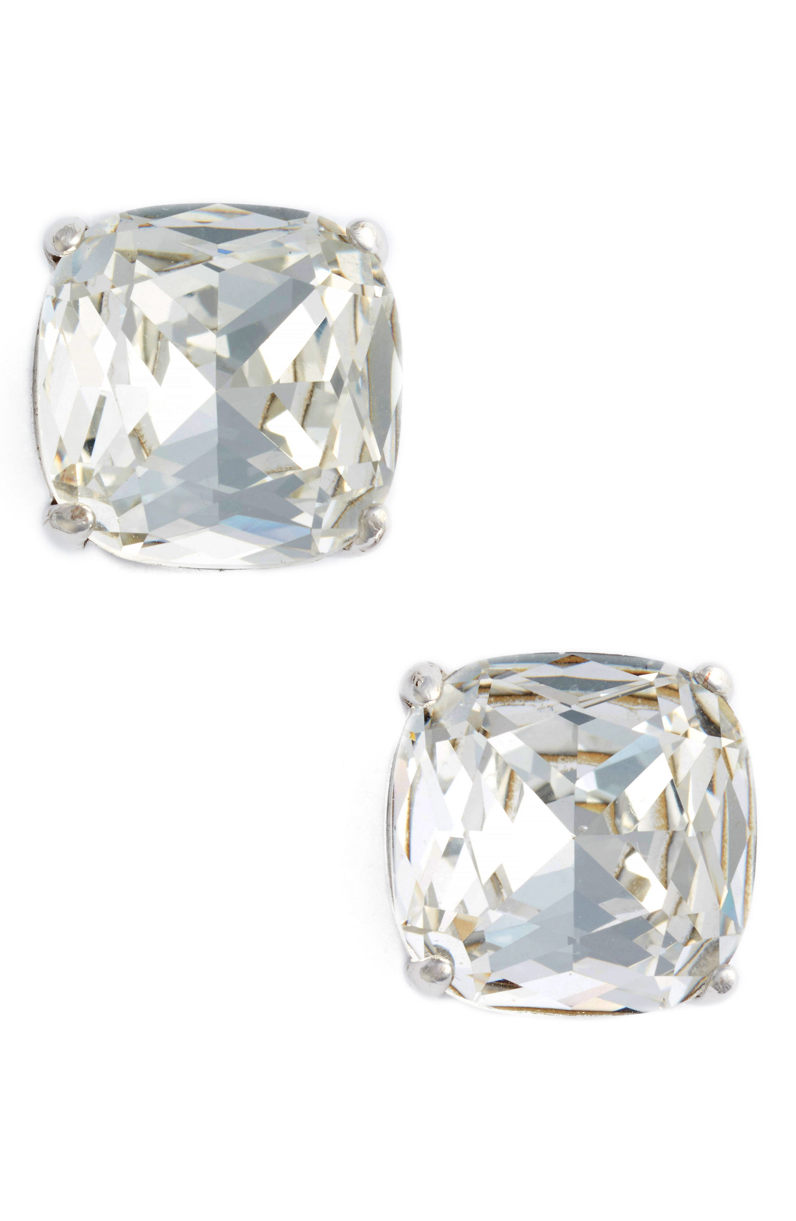 KATE SPADE NEW YORK, small stud earrings, Main thumbnail 1, color, CLEAR CRYSTAL/ SILVER