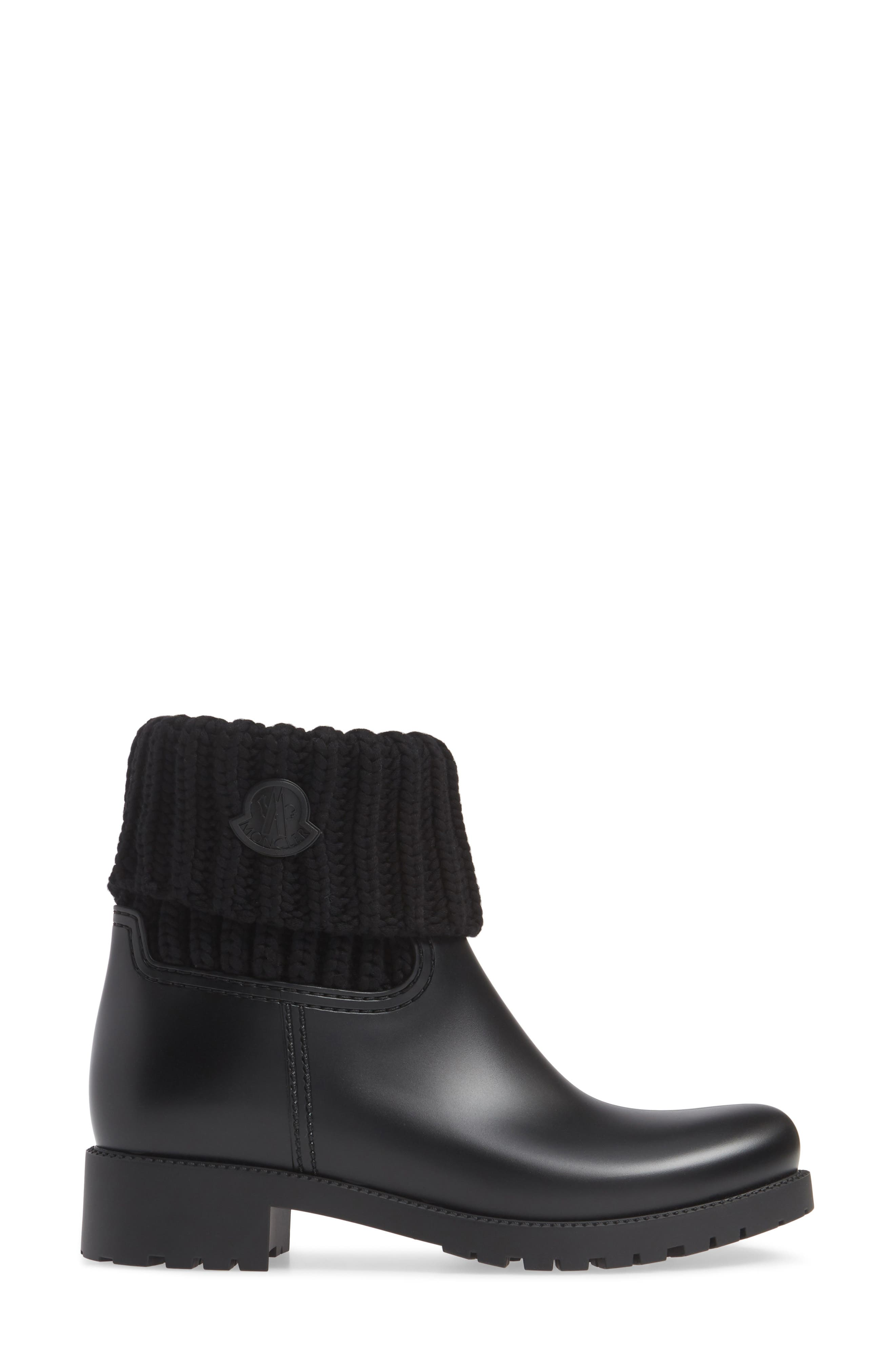 MONCLER, Ginette Stivale Knit Cuff Water Resistant Rain Boot, Alternate thumbnail 3, color, BLACK