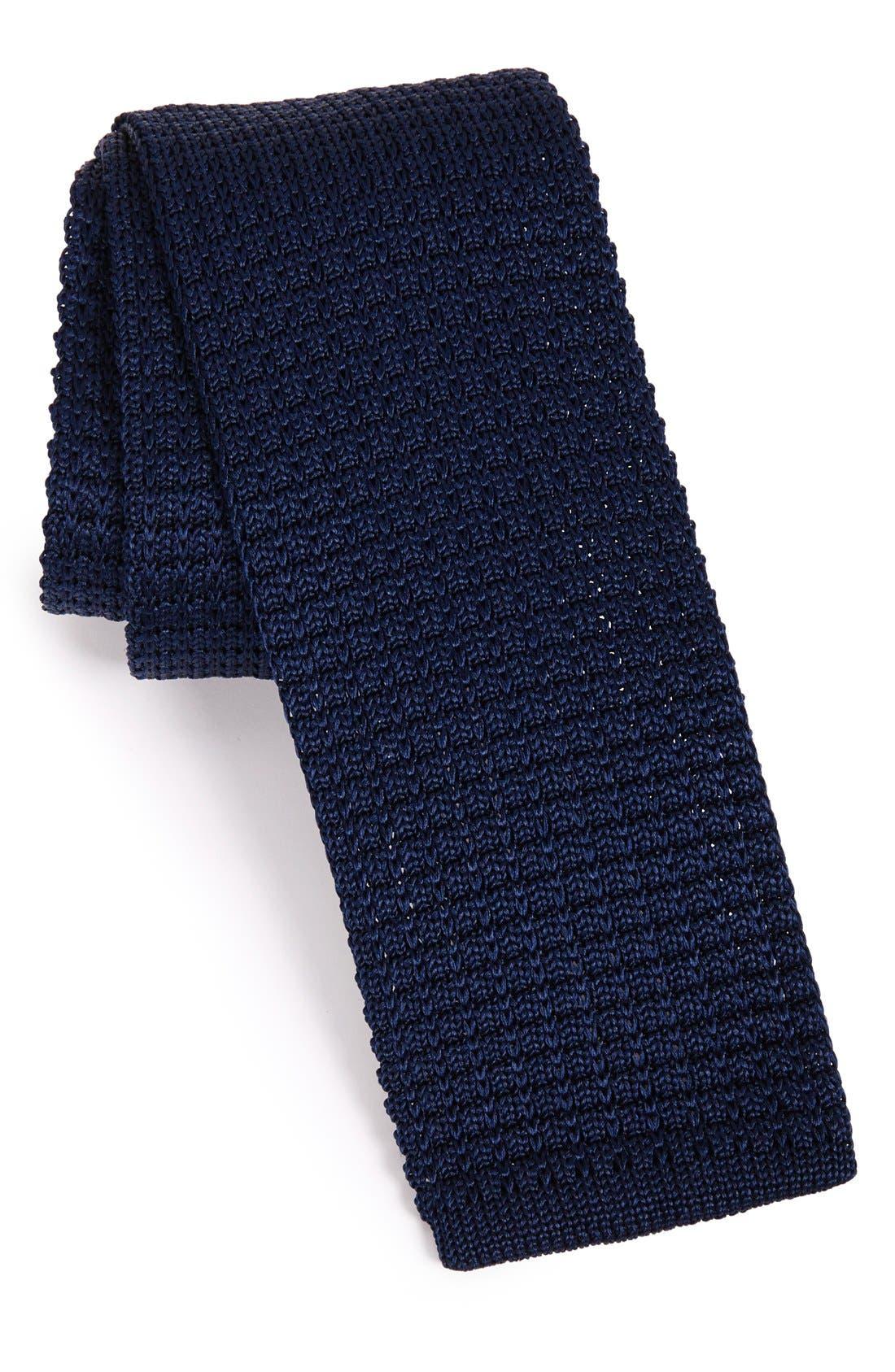 THE TIE BAR, Knit Silk Tie, Main thumbnail 1, color, NAVY