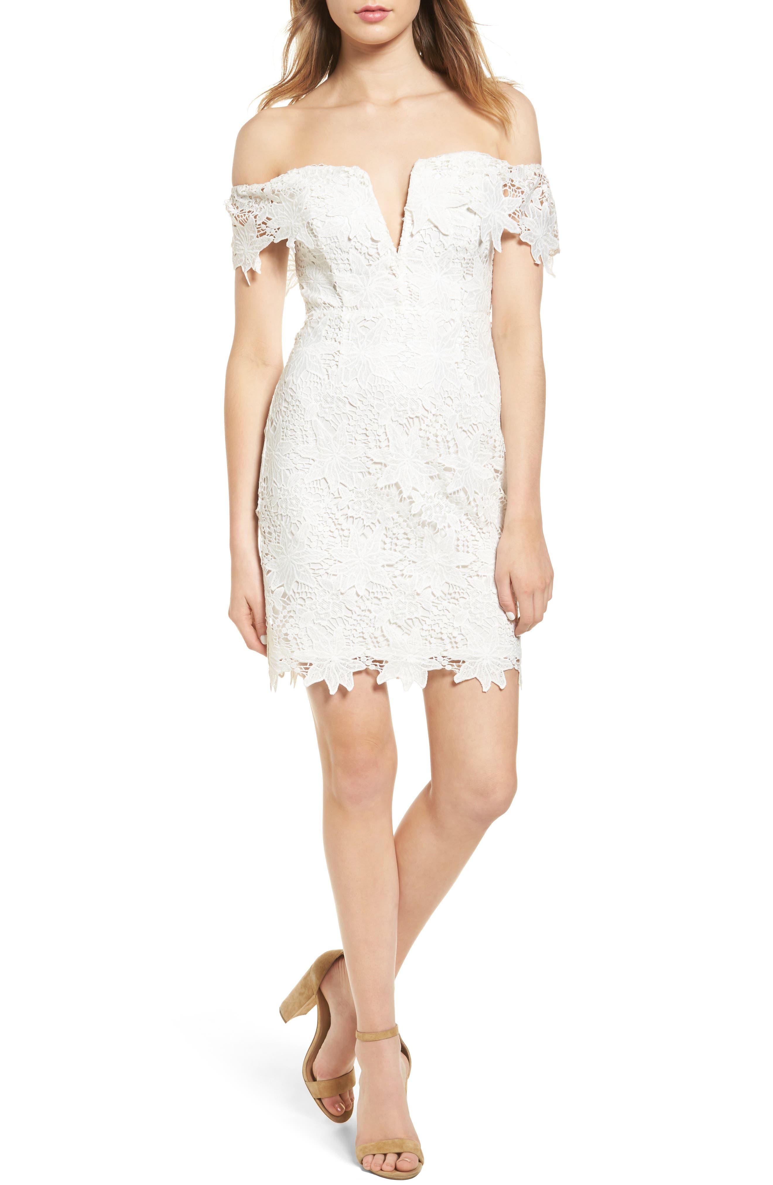 ASTR THE LABEL Daniella Lace Body-Con Dress, Main, color, 100