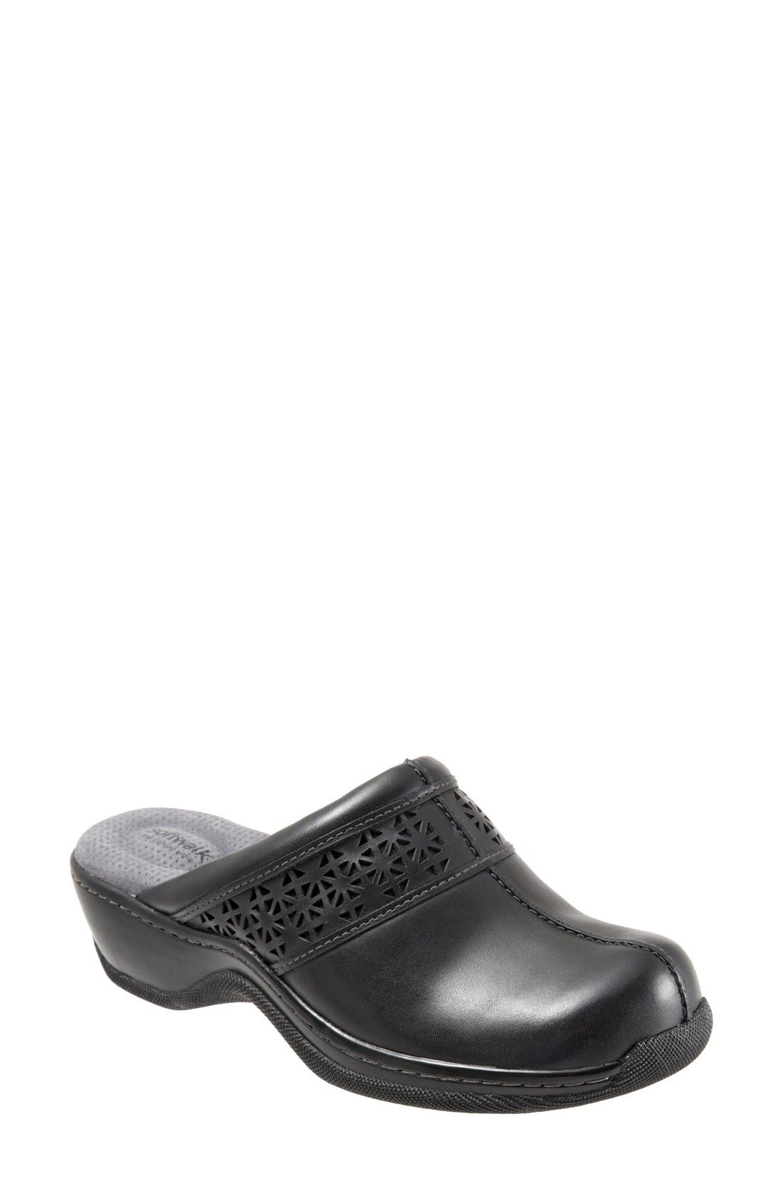 SOFTWALK<SUP>®</SUP>, 'Abby' Clog, Main thumbnail 1, color, BLACK LEATHER